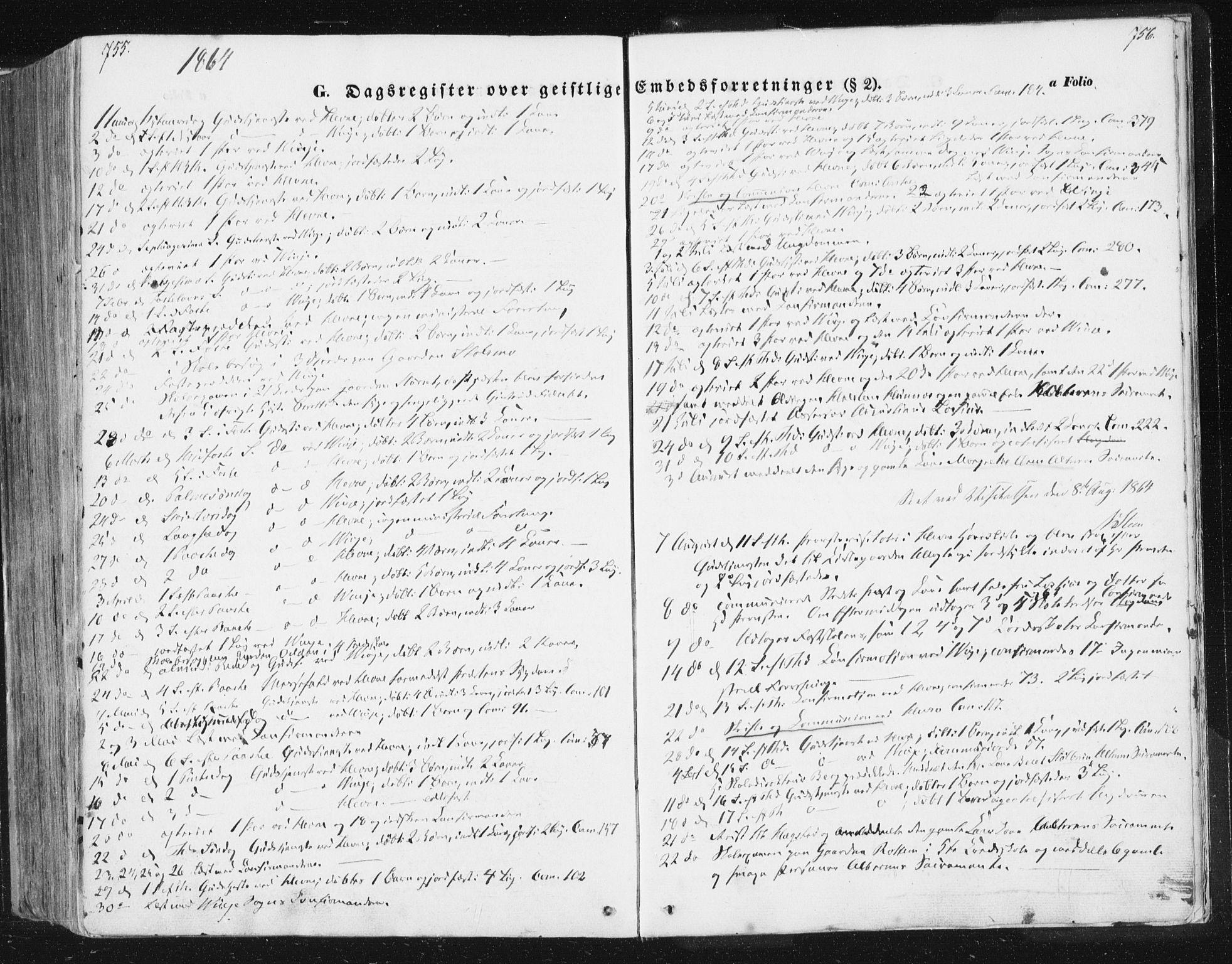 SAT, Ministerialprotokoller, klokkerbøker og fødselsregistre - Sør-Trøndelag, 630/L0494: Ministerialbok nr. 630A07, 1852-1868, s. 755-756