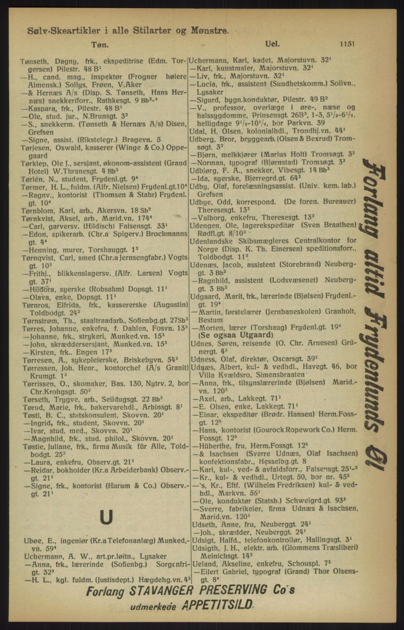 RA, Kristiania adressebok (publikasjon)*, 1915, s. 1151