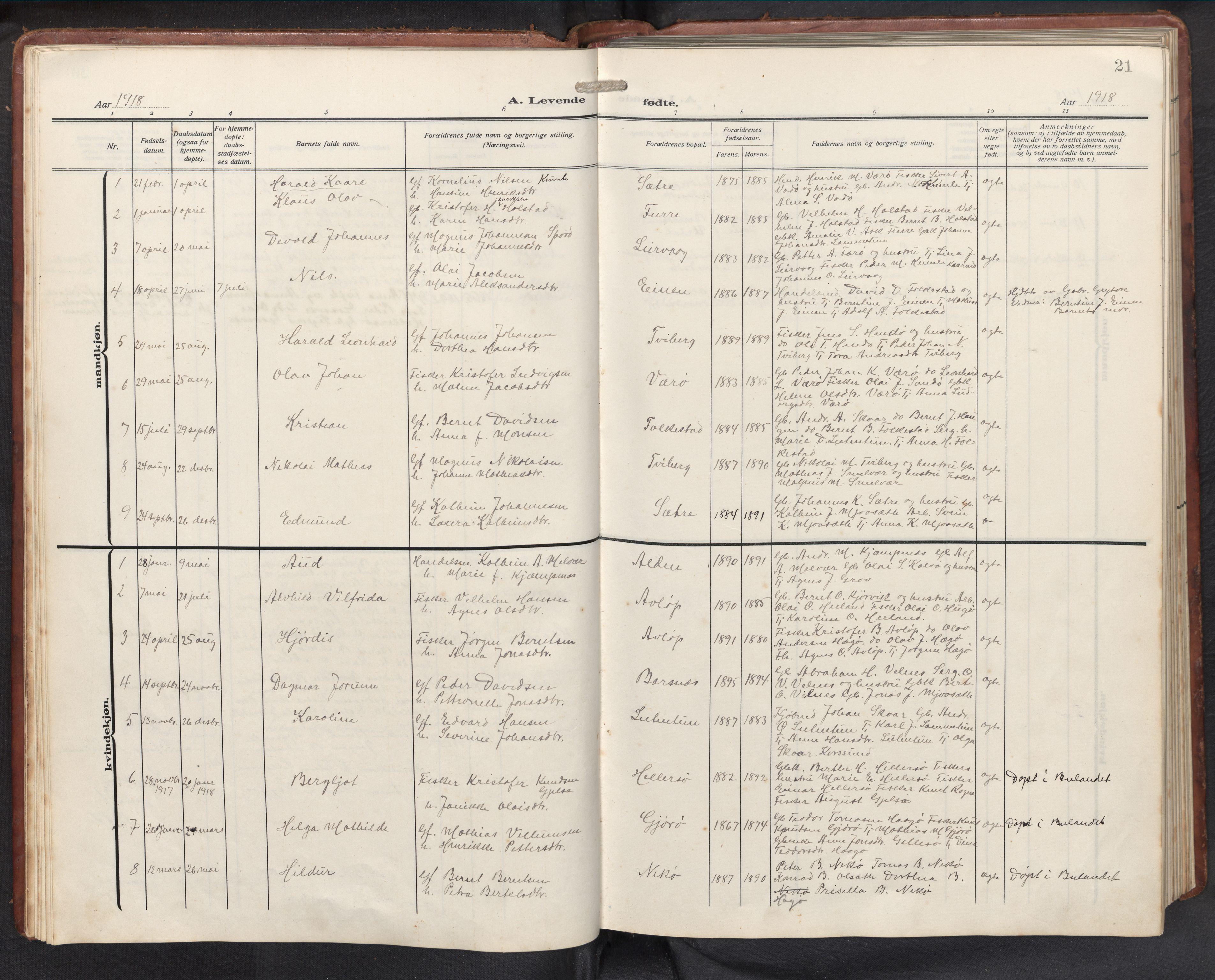 SAB, Askvoll sokneprestembete, H/Hab/Habb/L0002: Klokkerbok nr. B 2, 1910-1947, s. 20b-21a