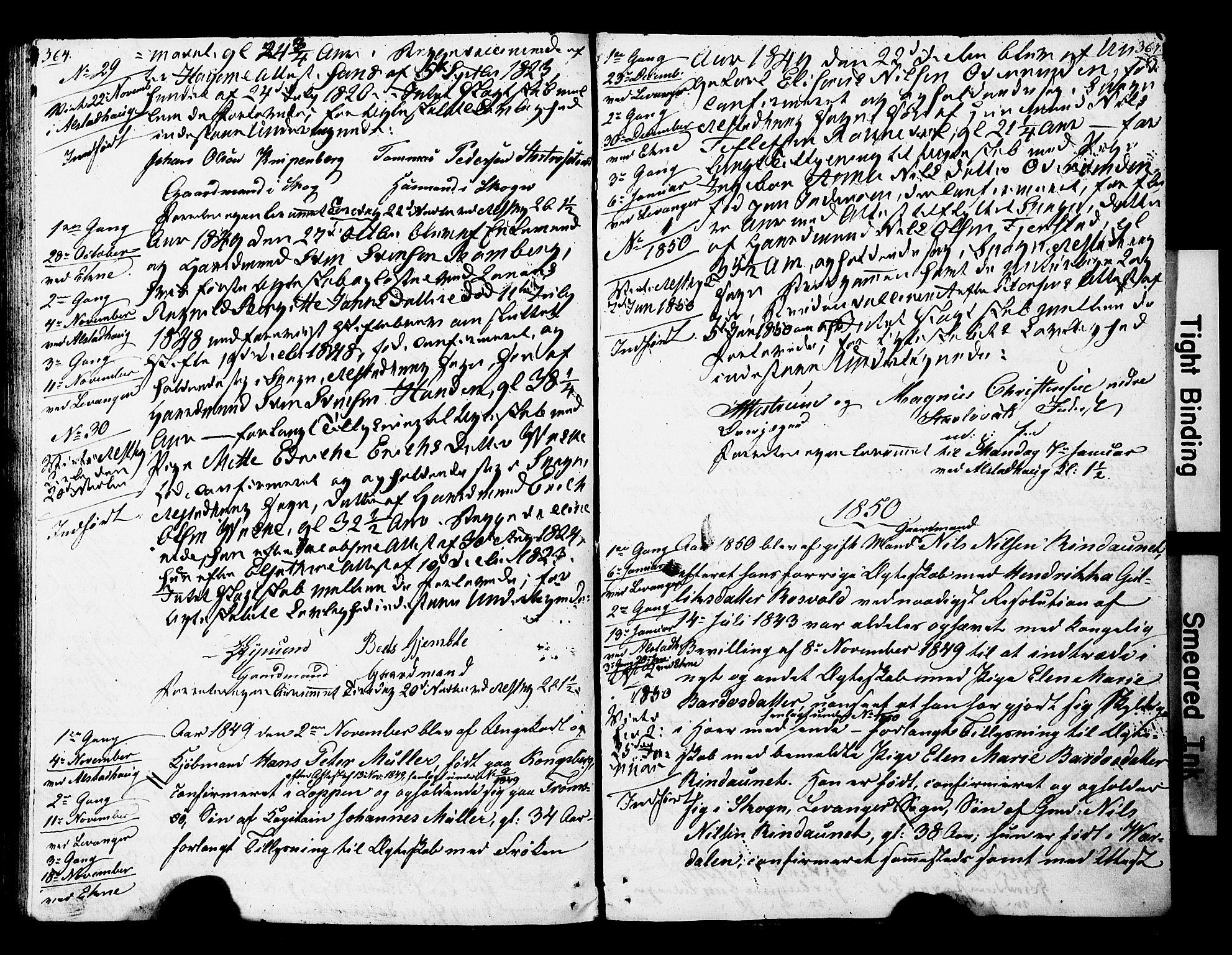 SAT, Ministerialprotokoller, klokkerbøker og fødselsregistre - Nord-Trøndelag, 717/L0160: Forlovererklæringer nr. 717A10, 1828-1850, s. 366-367