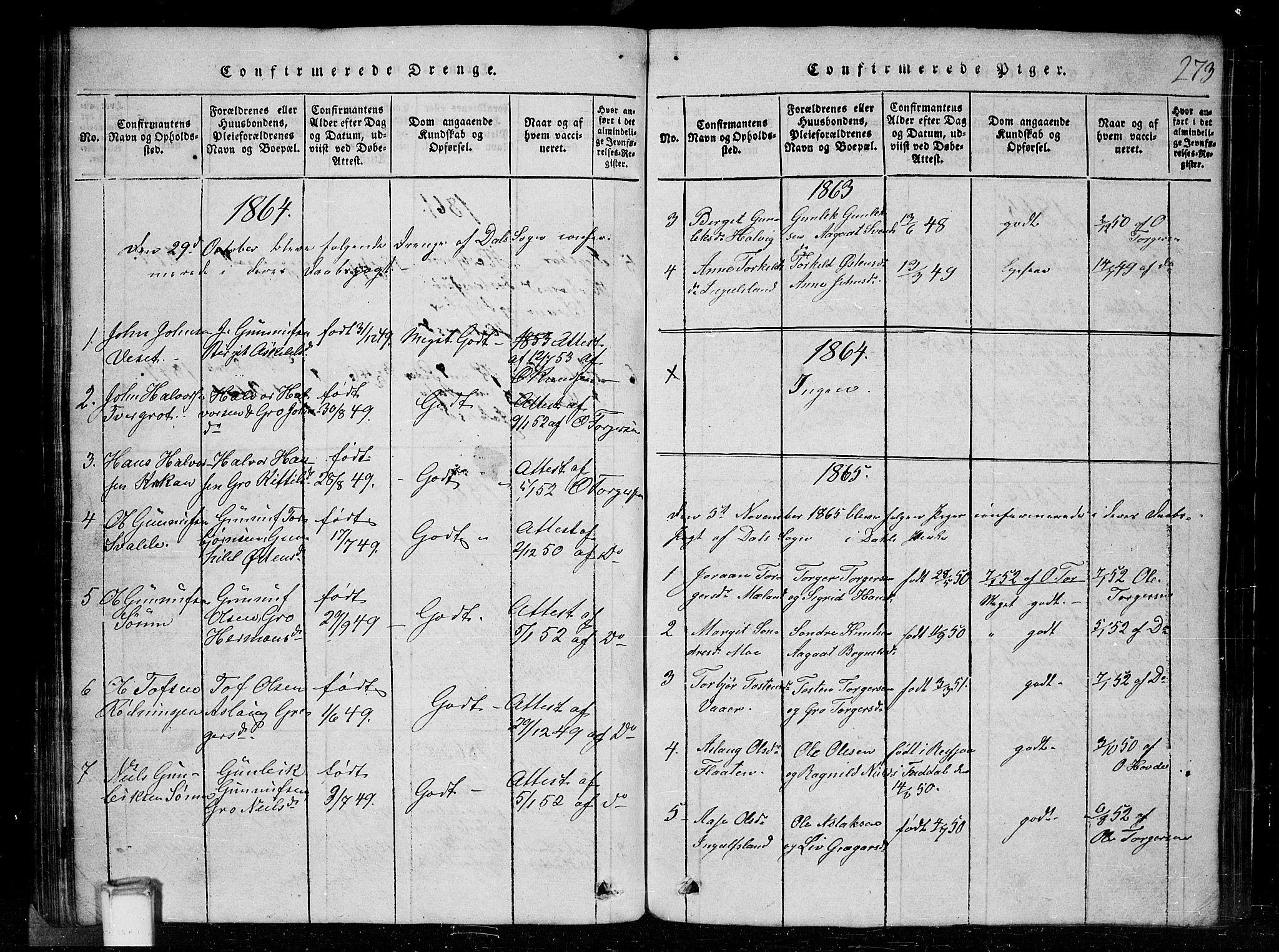 SAKO, Tinn kirkebøker, G/Gc/L0001: Klokkerbok nr. III 1, 1815-1879, s. 273