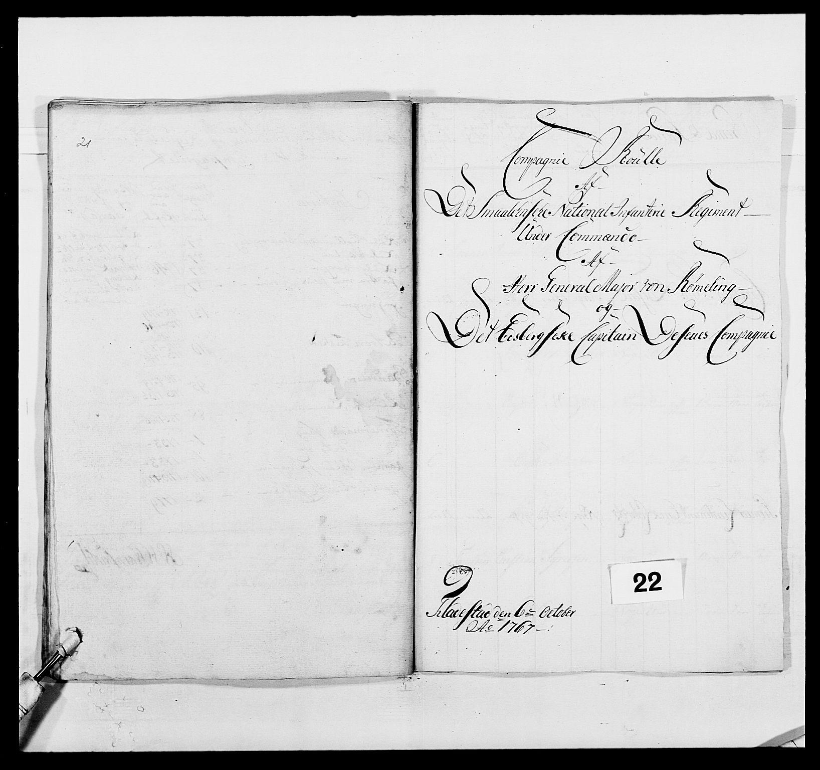 RA, Kommanderende general (KG I) med Det norske krigsdirektorium, E/Ea/L0496: 1. Smålenske regiment, 1765-1767, s. 385