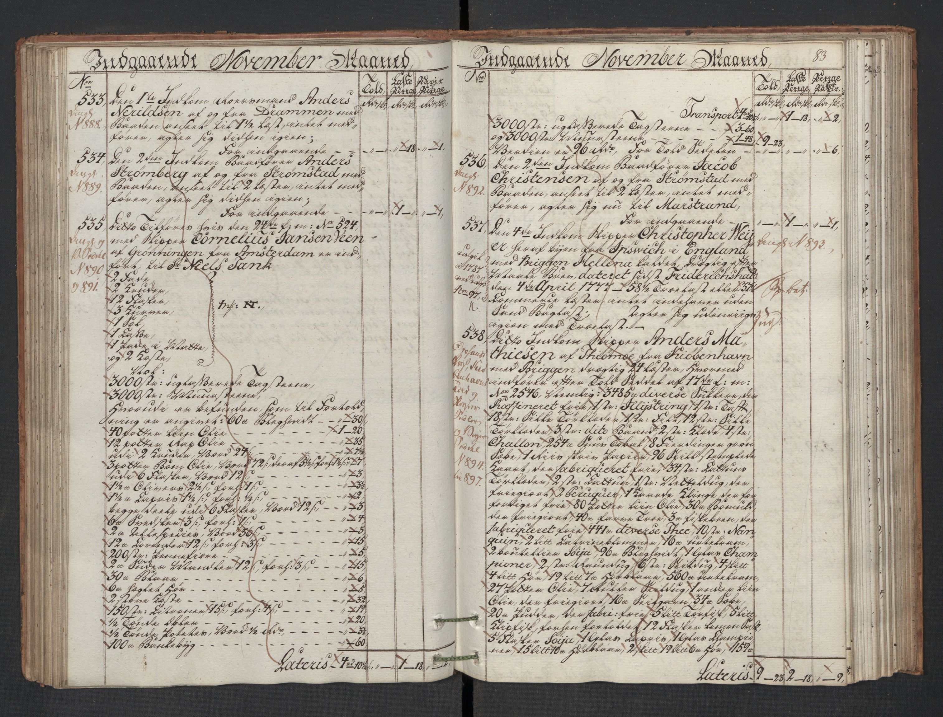 RA, Generaltollkammeret, tollregnskaper, R01/L0130: Tollregnskaper Fredrikshald, 1786, s. 82b-83a