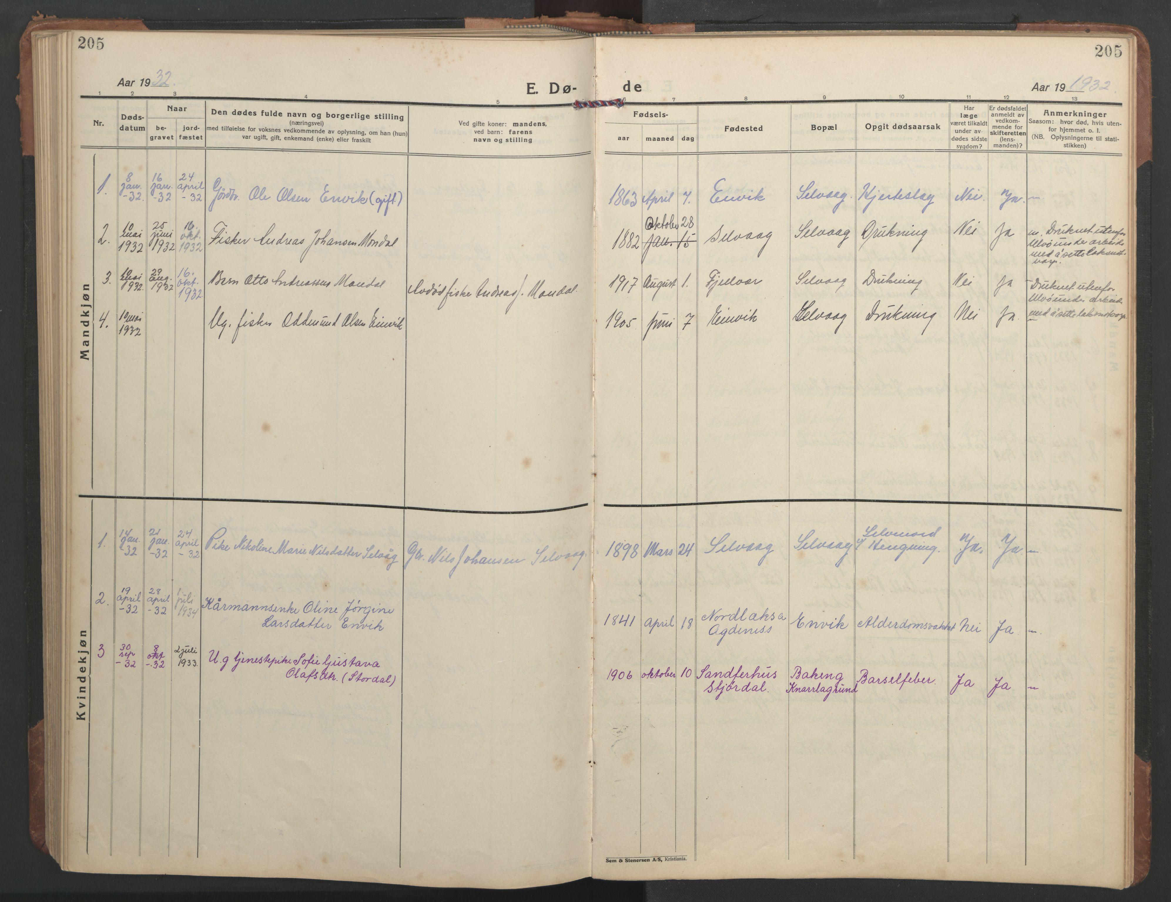 SAT, Ministerialprotokoller, klokkerbøker og fødselsregistre - Sør-Trøndelag, 638/L0569: Klokkerbok nr. 638C01, 1923-1961, s. 205