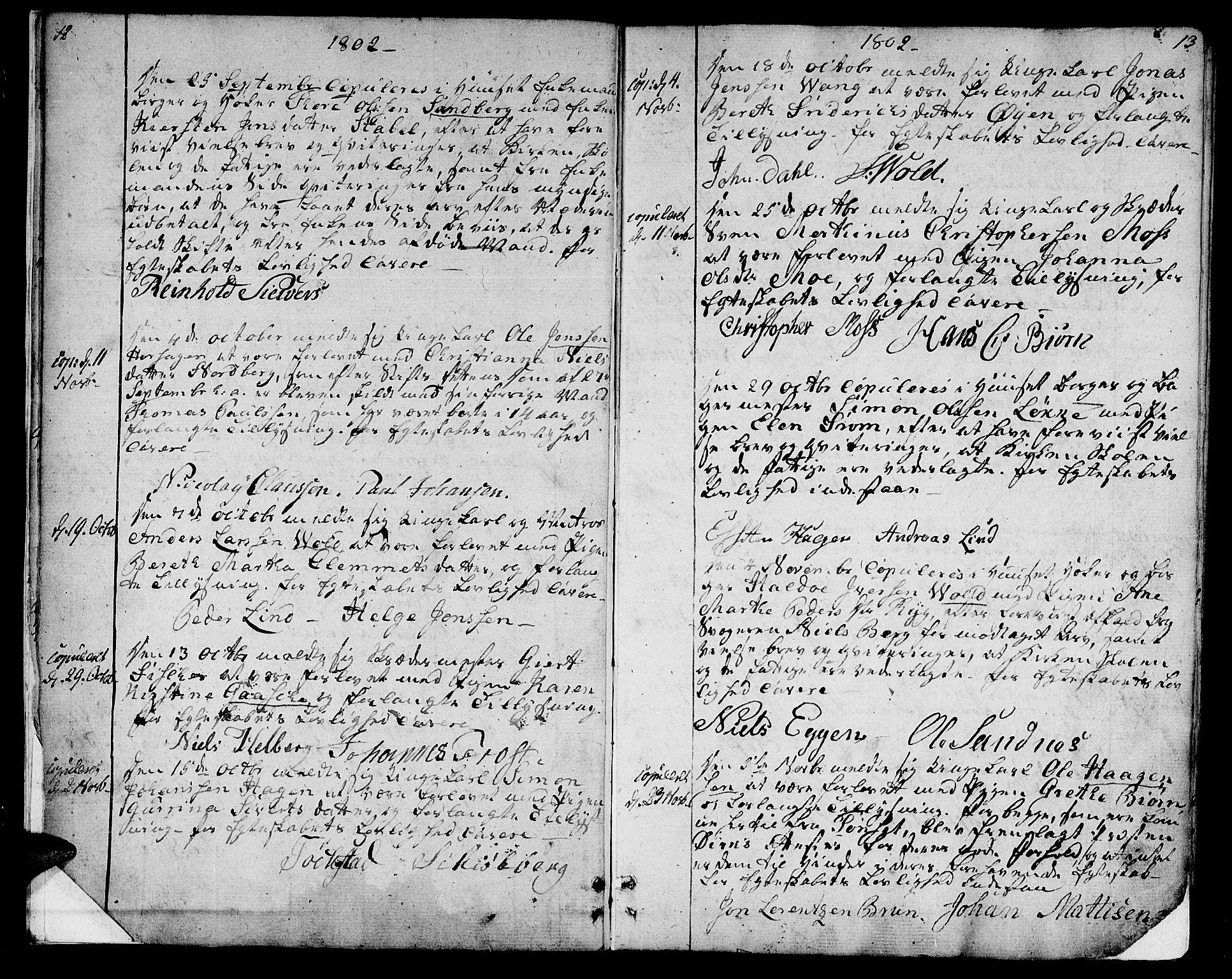 SAT, Ministerialprotokoller, klokkerbøker og fødselsregistre - Sør-Trøndelag, 601/L0042: Ministerialbok nr. 601A10, 1802-1830, s. 12-13