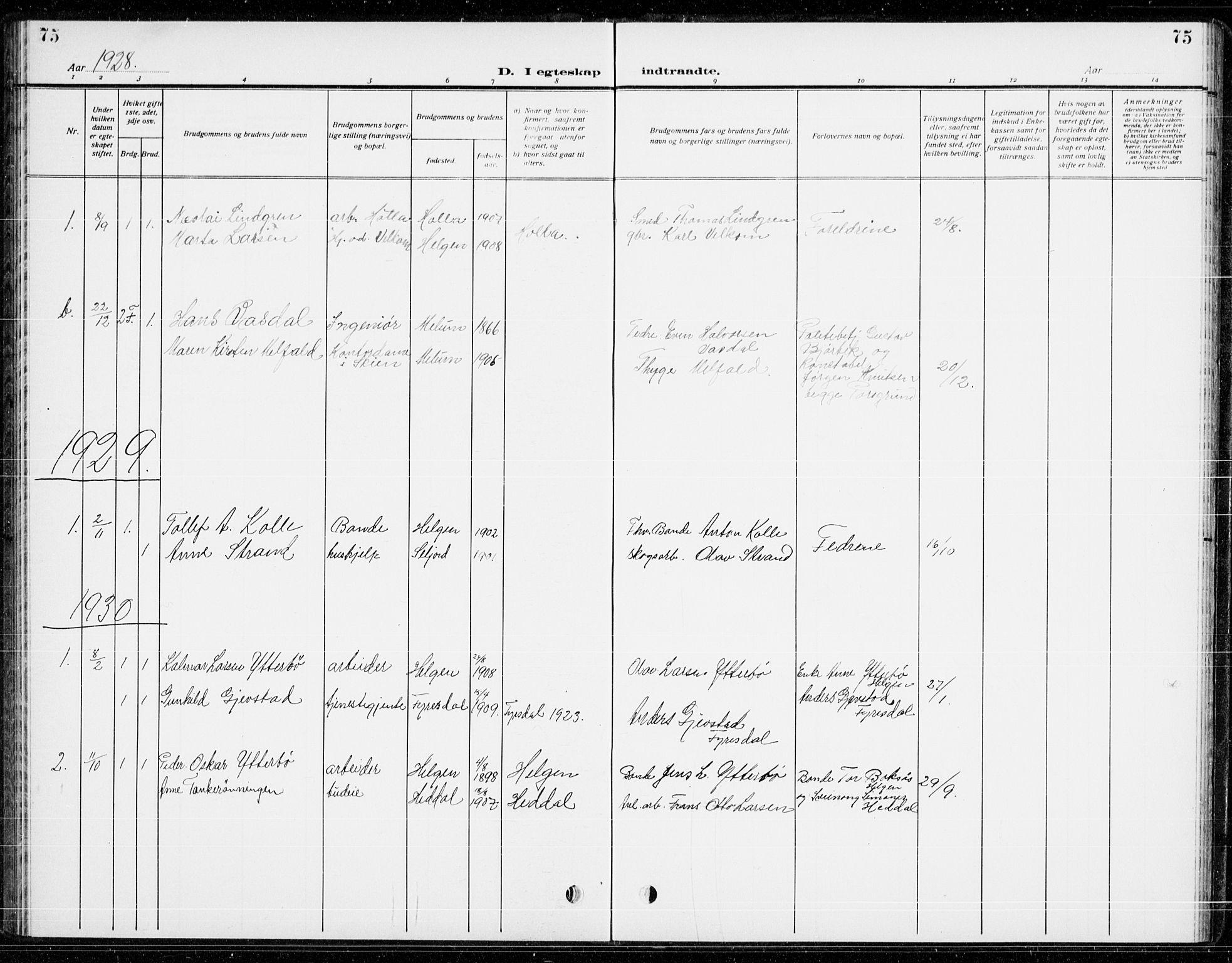 SAKO, Holla kirkebøker, G/Gb/L0003: Klokkerbok nr. II 3, 1914-1941, s. 75