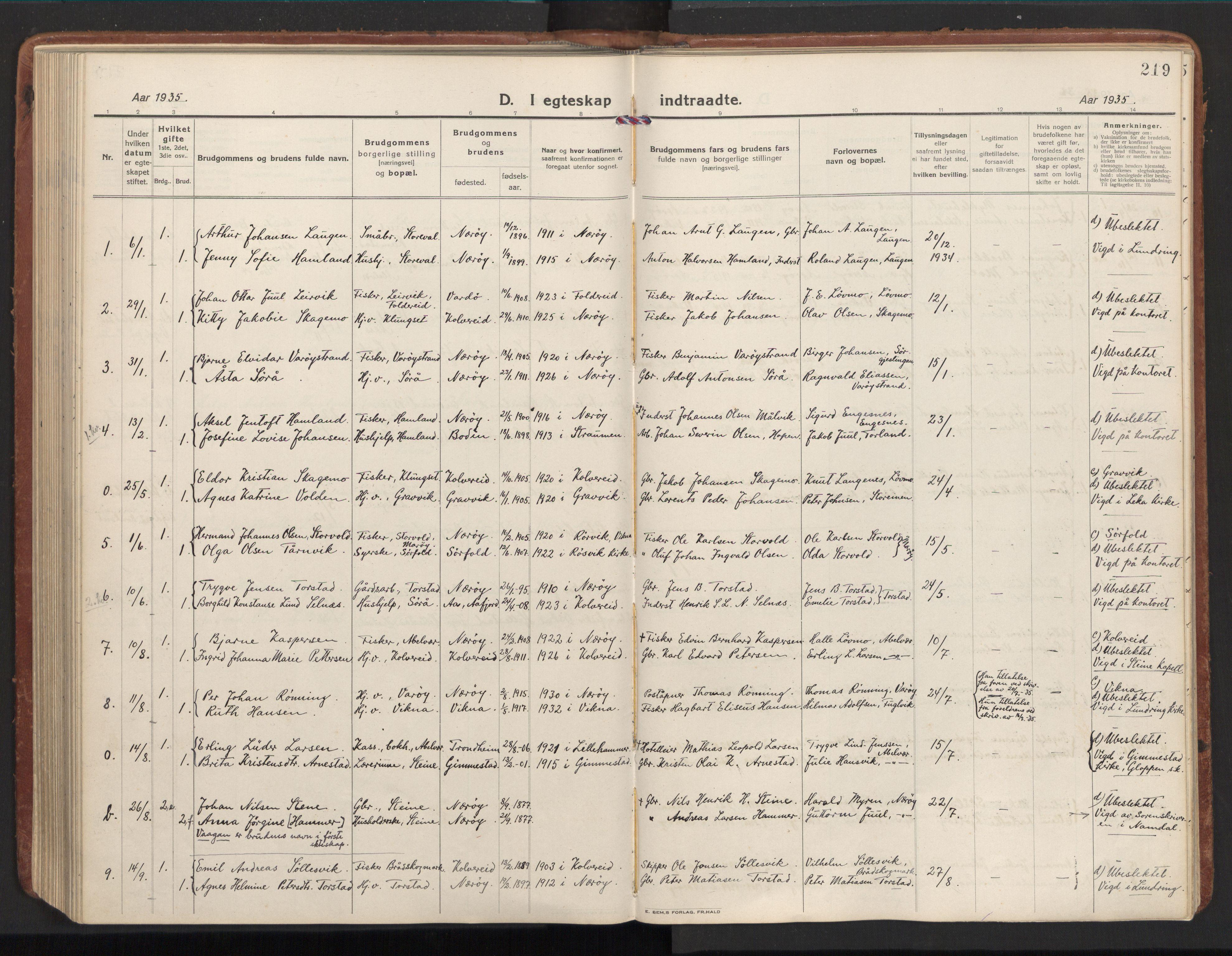 SAT, Ministerialprotokoller, klokkerbøker og fødselsregistre - Nord-Trøndelag, 784/L0678: Ministerialbok nr. 784A13, 1921-1938, s. 219