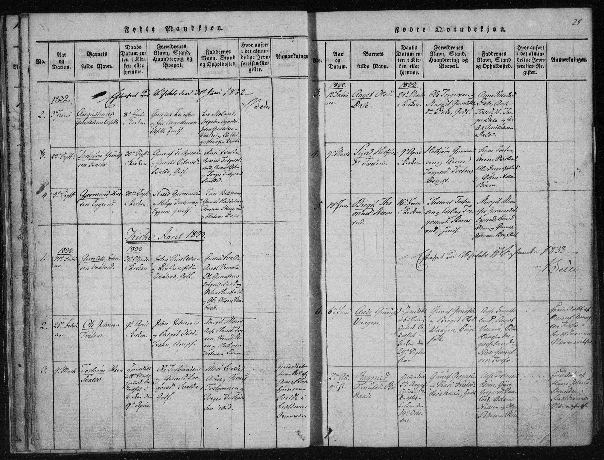 SAKO, Tinn kirkebøker, F/Fc/L0001: Ministerialbok nr. III 1, 1815-1843, s. 25