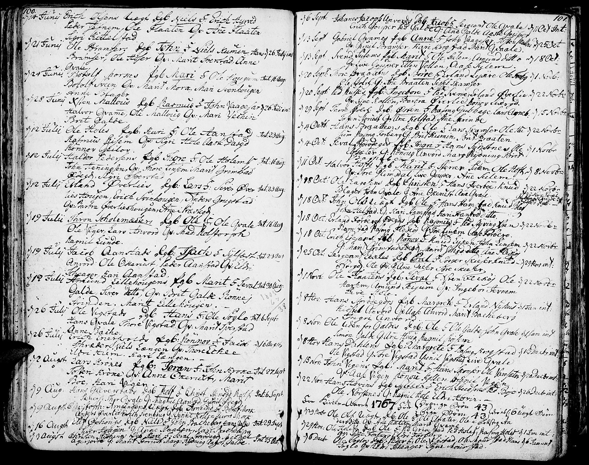 SAH, Lom prestekontor, K/L0002: Ministerialbok nr. 2, 1749-1801, s. 100-101