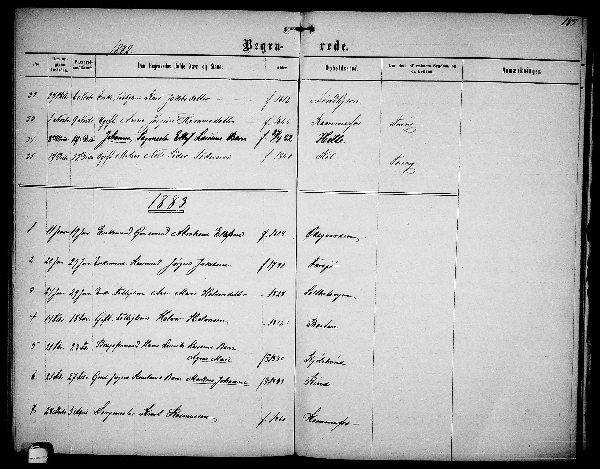 SAKO, Sannidal kirkebøker, G/Ga/L0002: Klokkerbok nr. 2, 1875-1886, s. 185