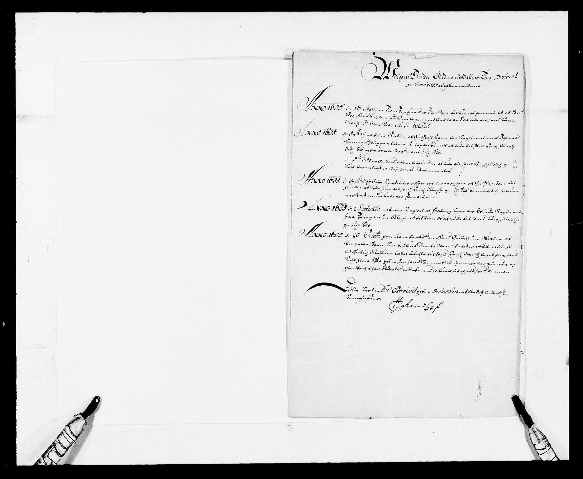 RA, Rentekammeret inntil 1814, Reviderte regnskaper, Fogderegnskap, R17/L1160: Fogderegnskap Gudbrandsdal, 1682-1689, s. 273