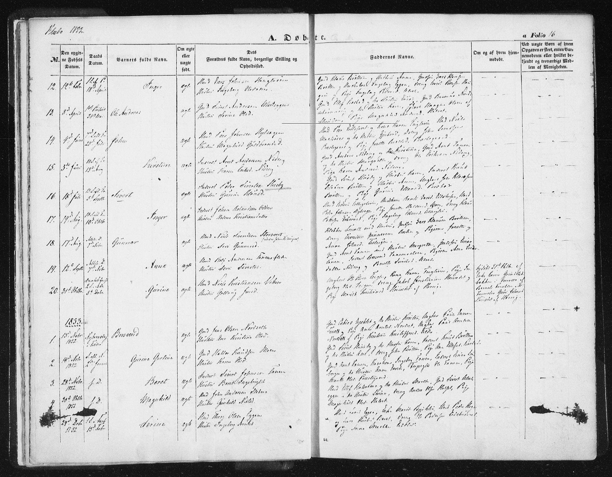 SAT, Ministerialprotokoller, klokkerbøker og fødselsregistre - Sør-Trøndelag, 618/L0441: Ministerialbok nr. 618A05, 1843-1862, s. 16