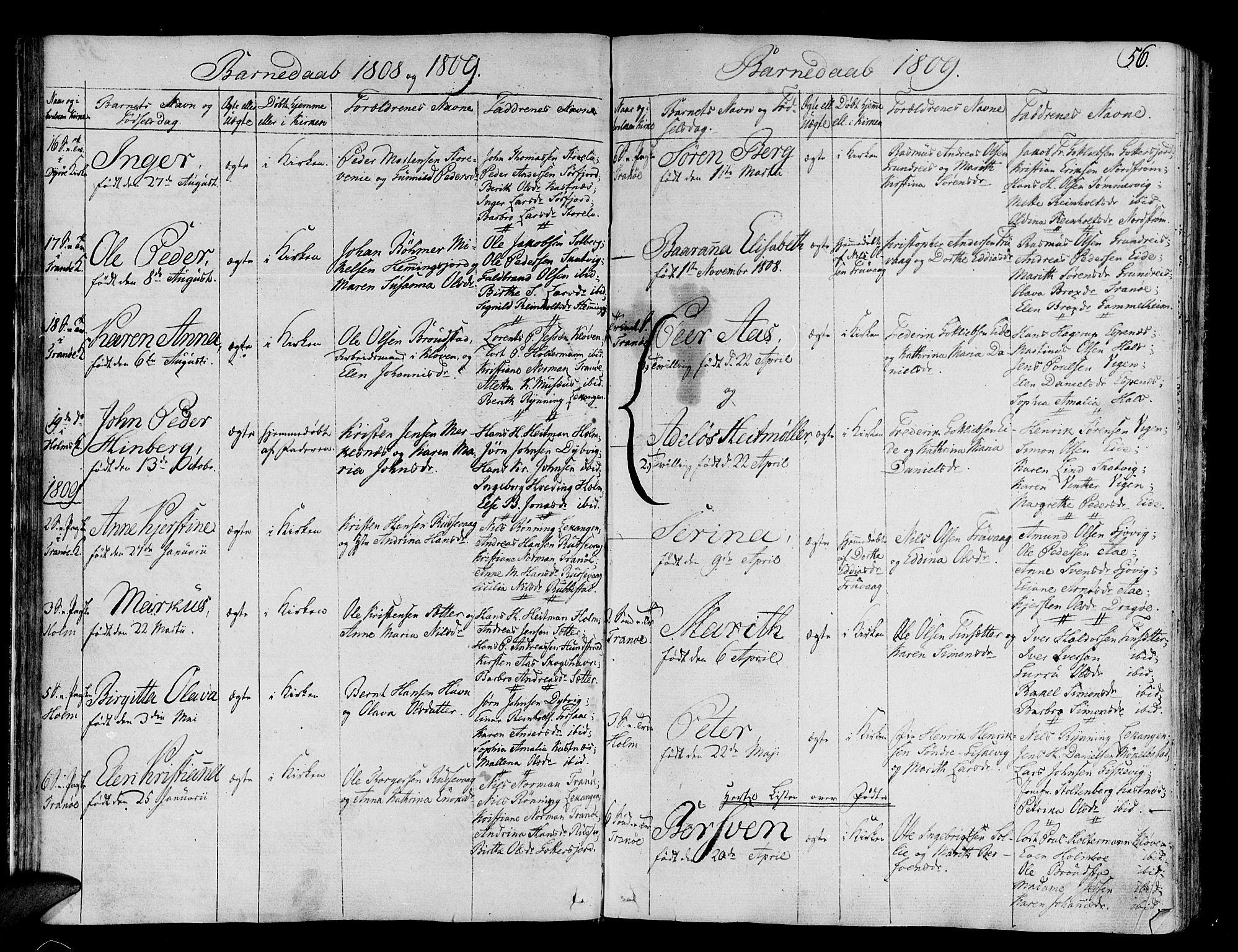 SATØ, Tranøy sokneprestkontor, I/Ia/Iaa/L0003kirke: Ministerialbok nr. 3, 1807-1820, s. 56