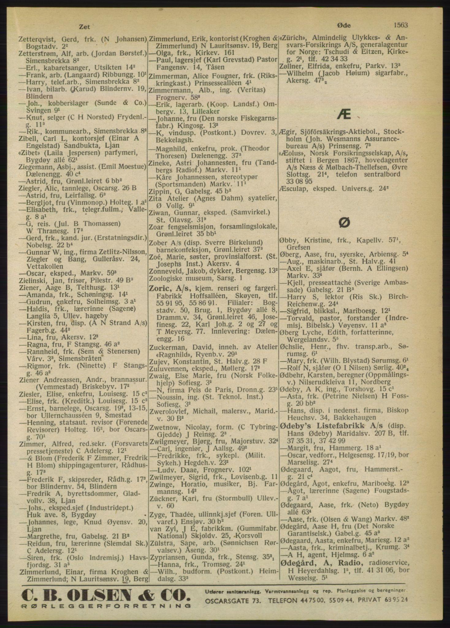 PUBL, Kristiania/Oslo adressebok, 1950, s. 1563