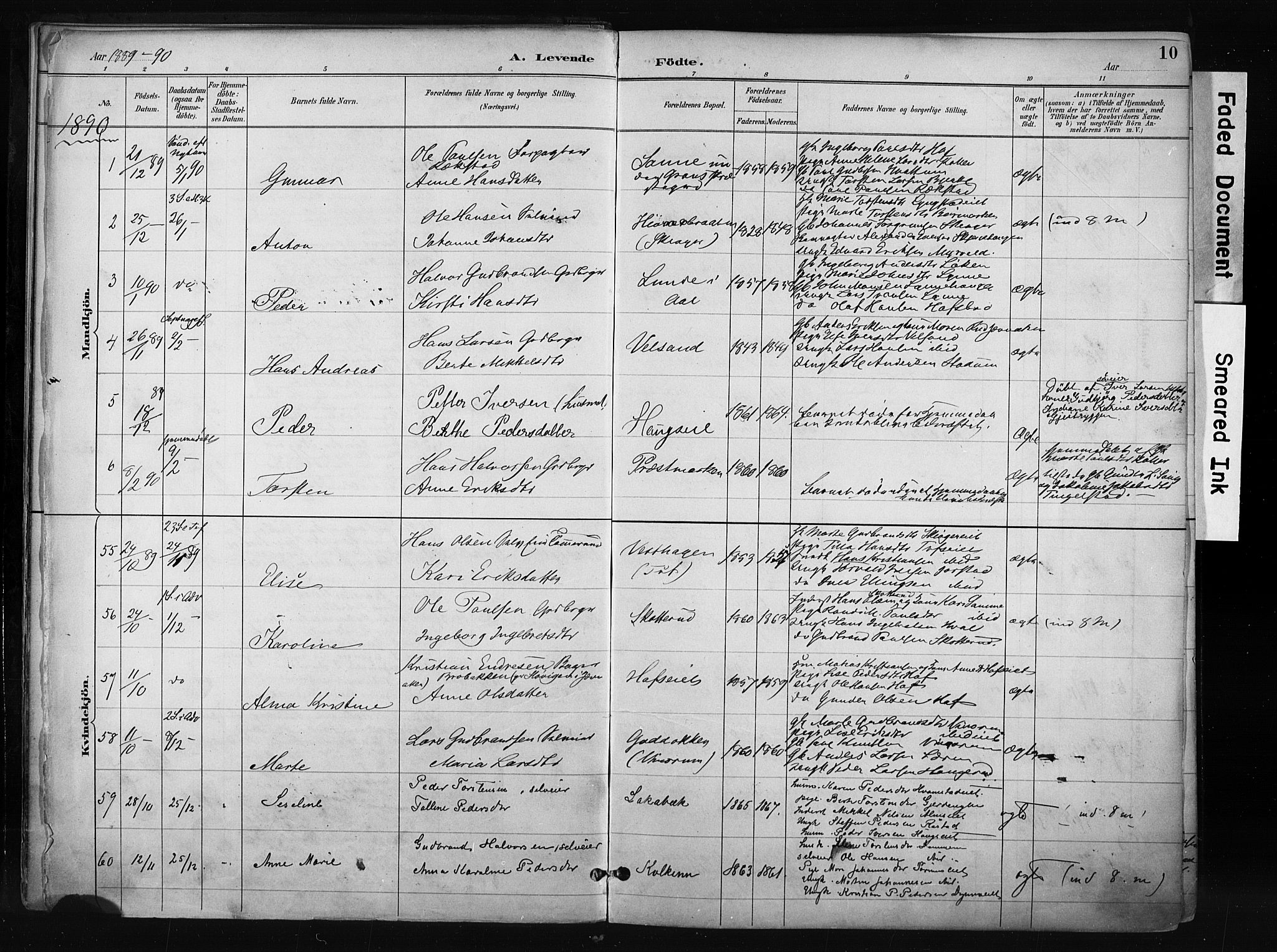 SAH, Gran prestekontor, Ministerialbok nr. 17, 1889-1897, s. 10