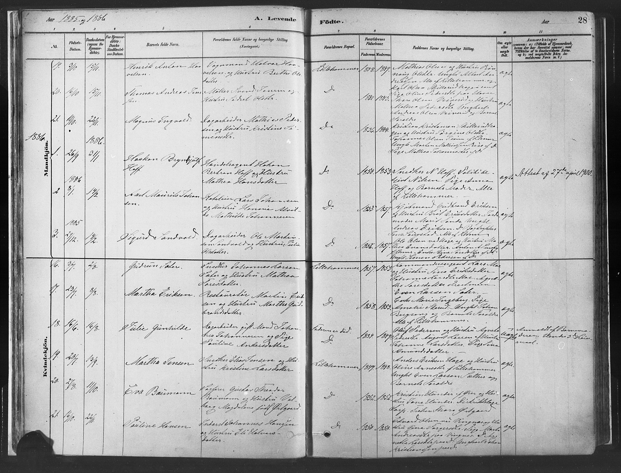 SAH, Fåberg prestekontor, Ministerialbok nr. 10, 1879-1900, s. 28