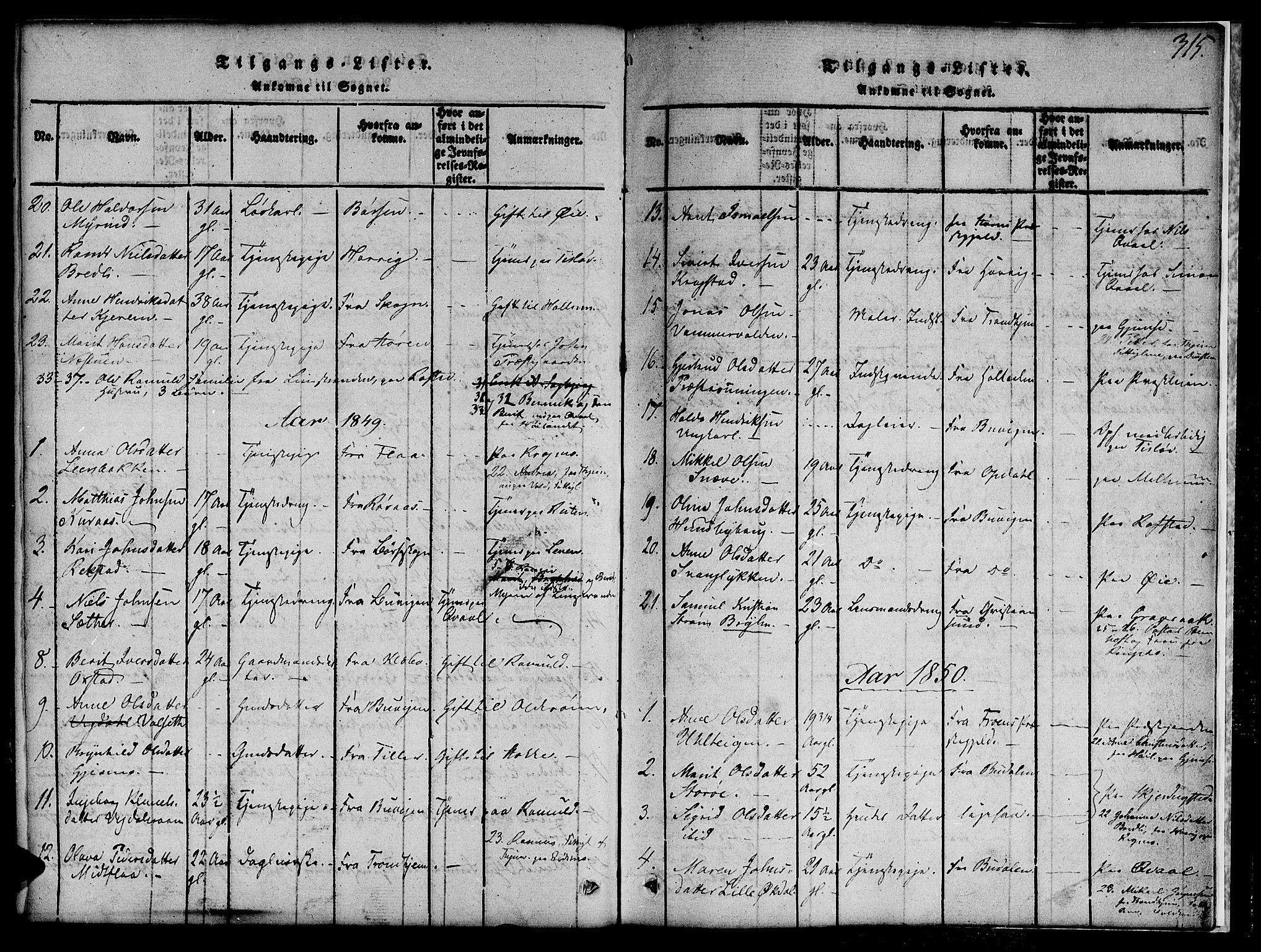 SAT, Ministerialprotokoller, klokkerbøker og fødselsregistre - Sør-Trøndelag, 691/L1092: Klokkerbok nr. 691C03, 1816-1852, s. 315