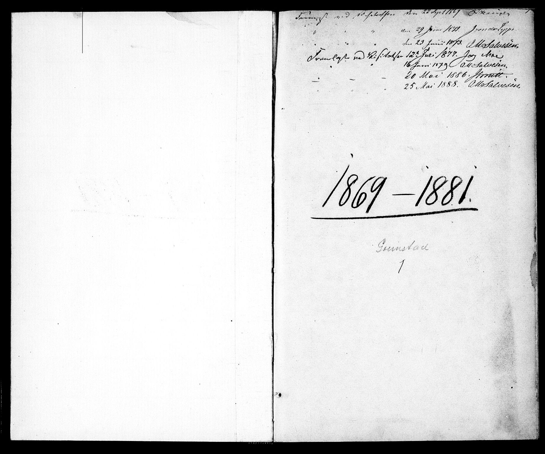 SAK, Grimstad sokneprestkontor, F/Fa/L0002: Ministerialbok nr. A 1, 1869-1881