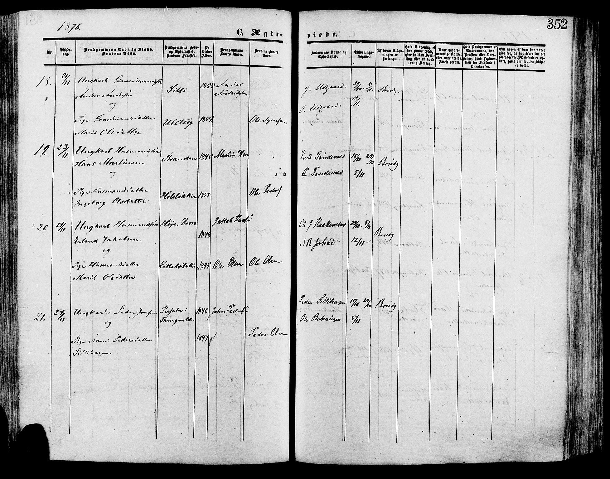 SAH, Lesja prestekontor, Ministerialbok nr. 8, 1854-1880, s. 352