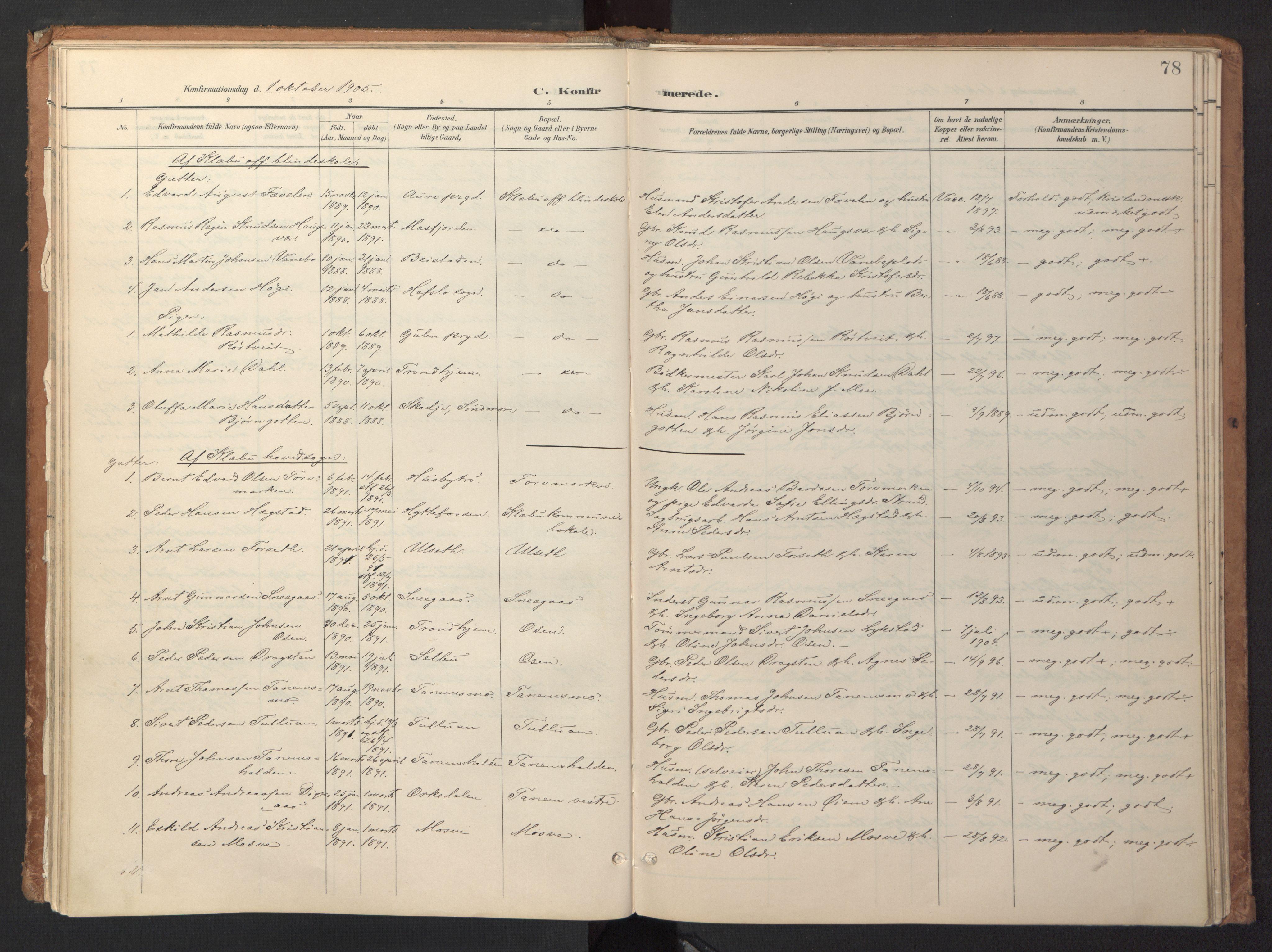 SAT, Ministerialprotokoller, klokkerbøker og fødselsregistre - Sør-Trøndelag, 618/L0448: Ministerialbok nr. 618A11, 1898-1916, s. 78