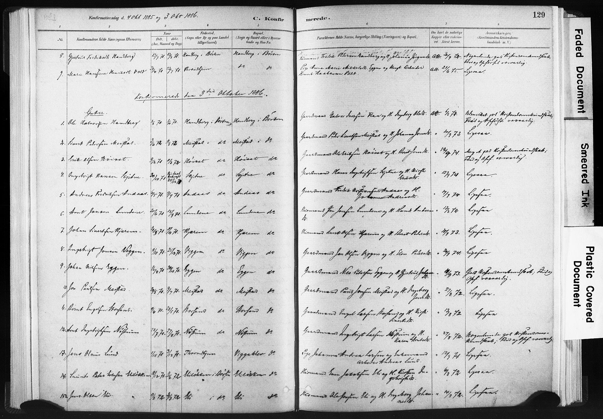SAT, Ministerialprotokoller, klokkerbøker og fødselsregistre - Sør-Trøndelag, 665/L0773: Ministerialbok nr. 665A08, 1879-1905, s. 129
