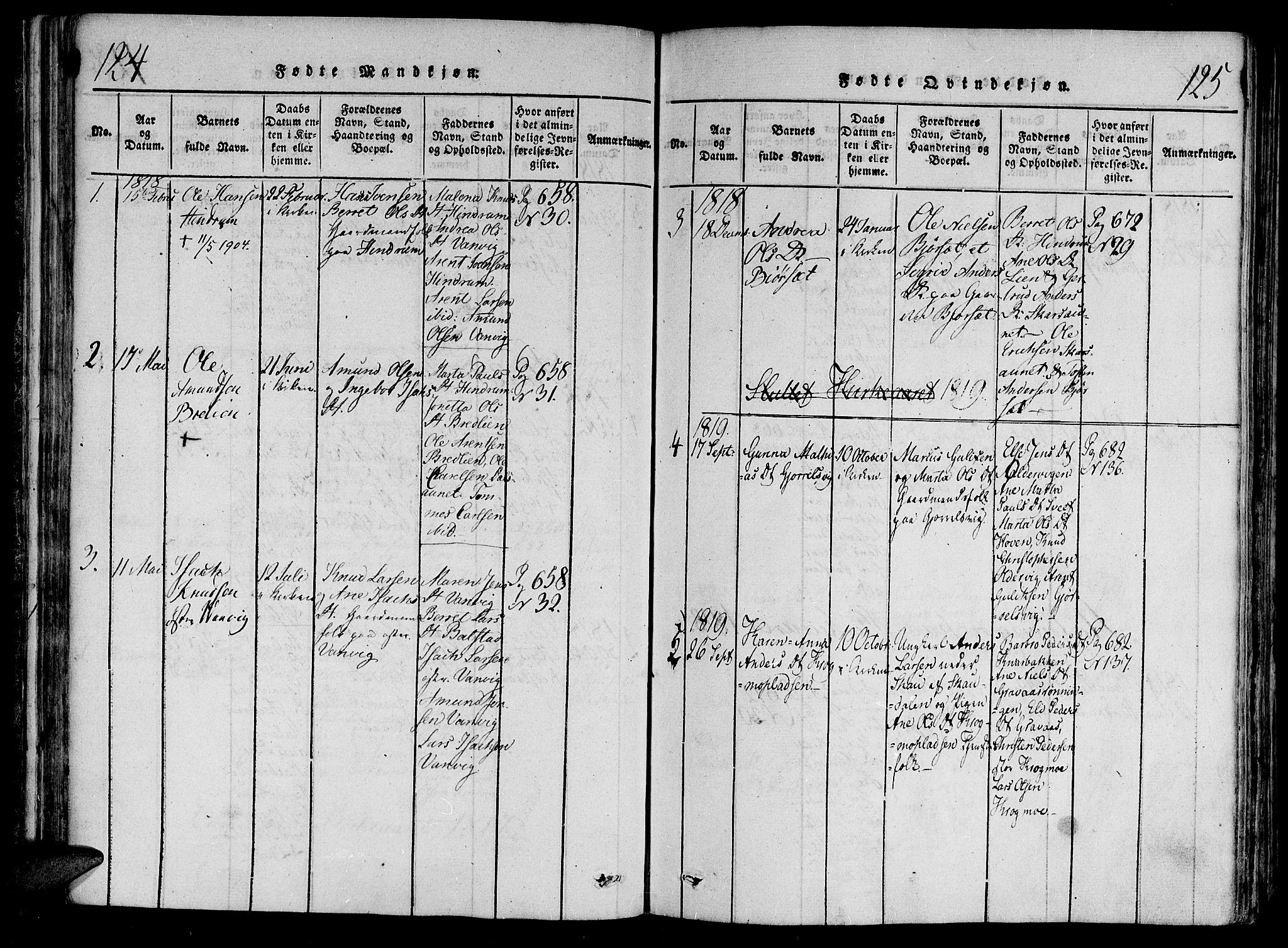SAT, Ministerialprotokoller, klokkerbøker og fødselsregistre - Nord-Trøndelag, 701/L0005: Ministerialbok nr. 701A05 /2, 1816-1825, s. 124-125