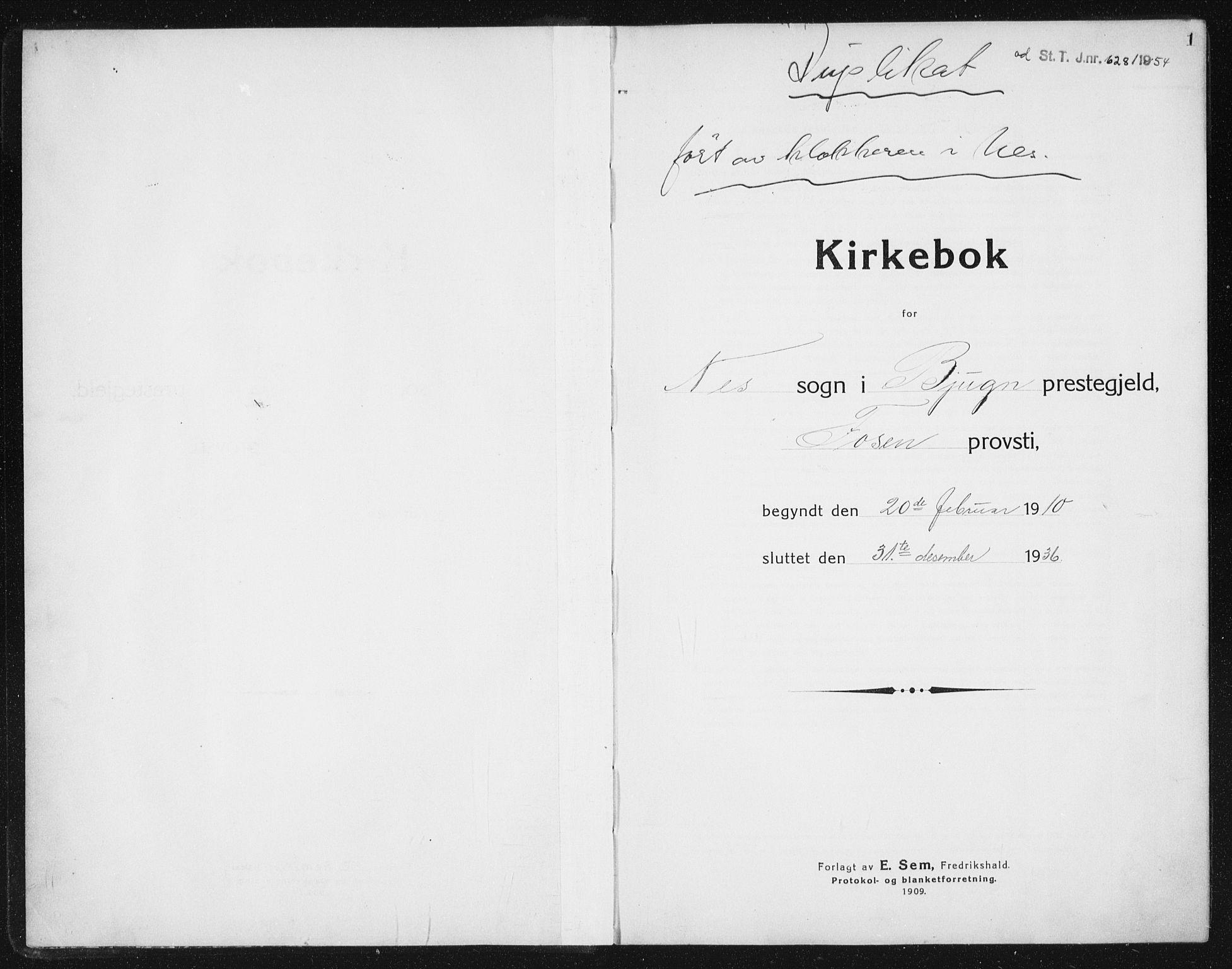 SAT, Ministerialprotokoller, klokkerbøker og fødselsregistre - Sør-Trøndelag, 652/L0654: Klokkerbok nr. 652C02, 1910-1937, s. 1