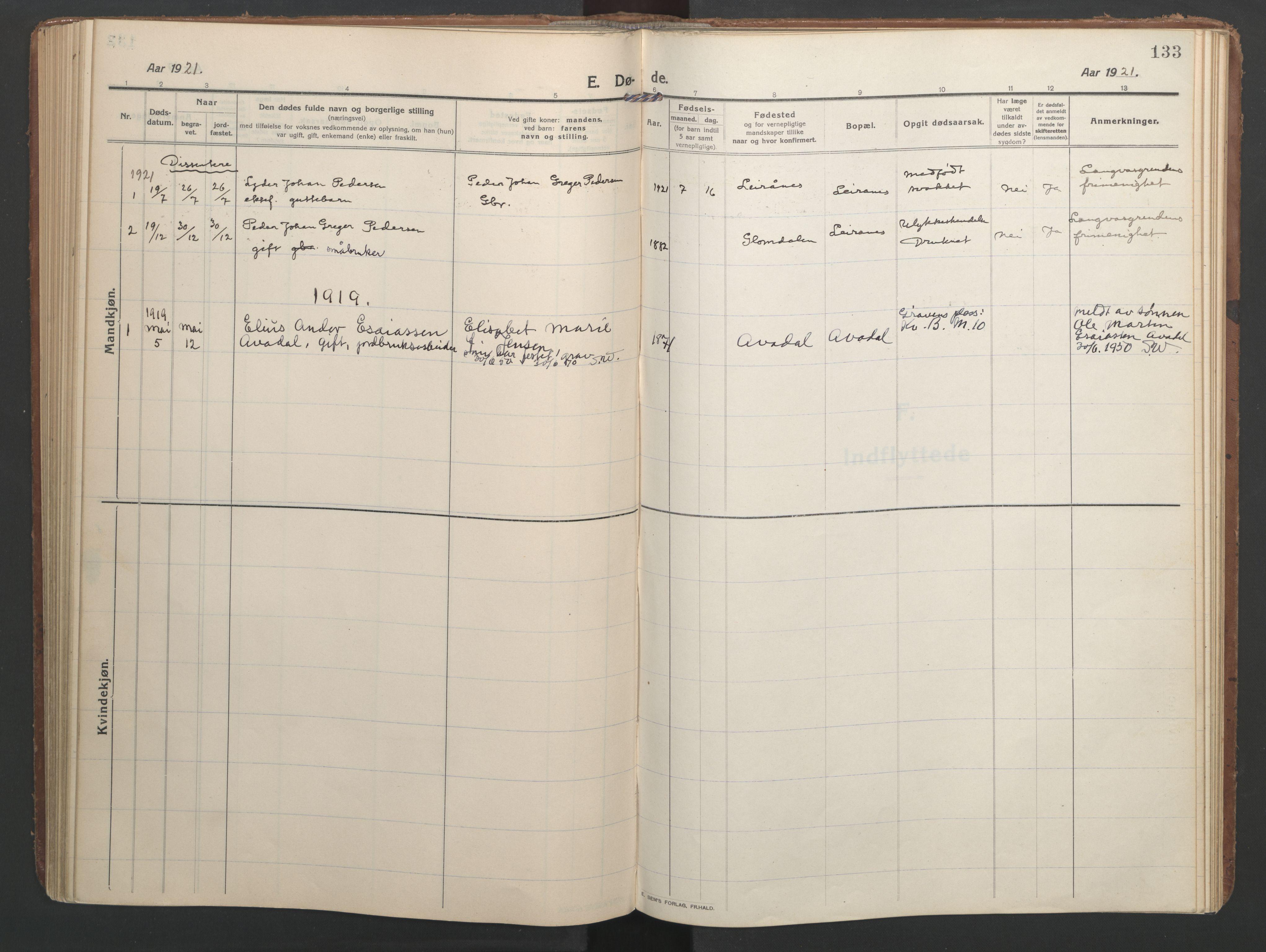 SAT, Ministerialprotokoller, klokkerbøker og fødselsregistre - Nordland, 827/L0405: Ministerialbok nr. 827A17, 1912-1925, s. 133