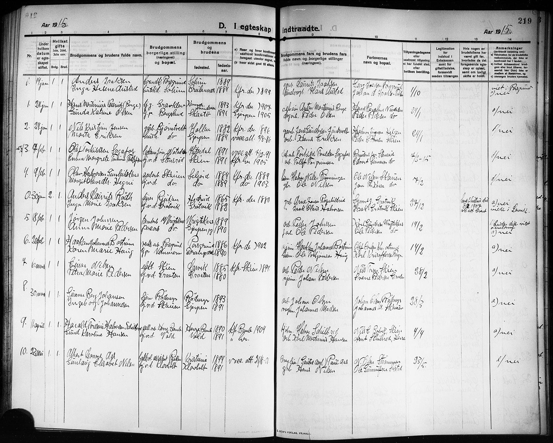 SAKO, Solum kirkebøker, G/Ga/L0009: Klokkerbok nr. I 9, 1909-1922, s. 219