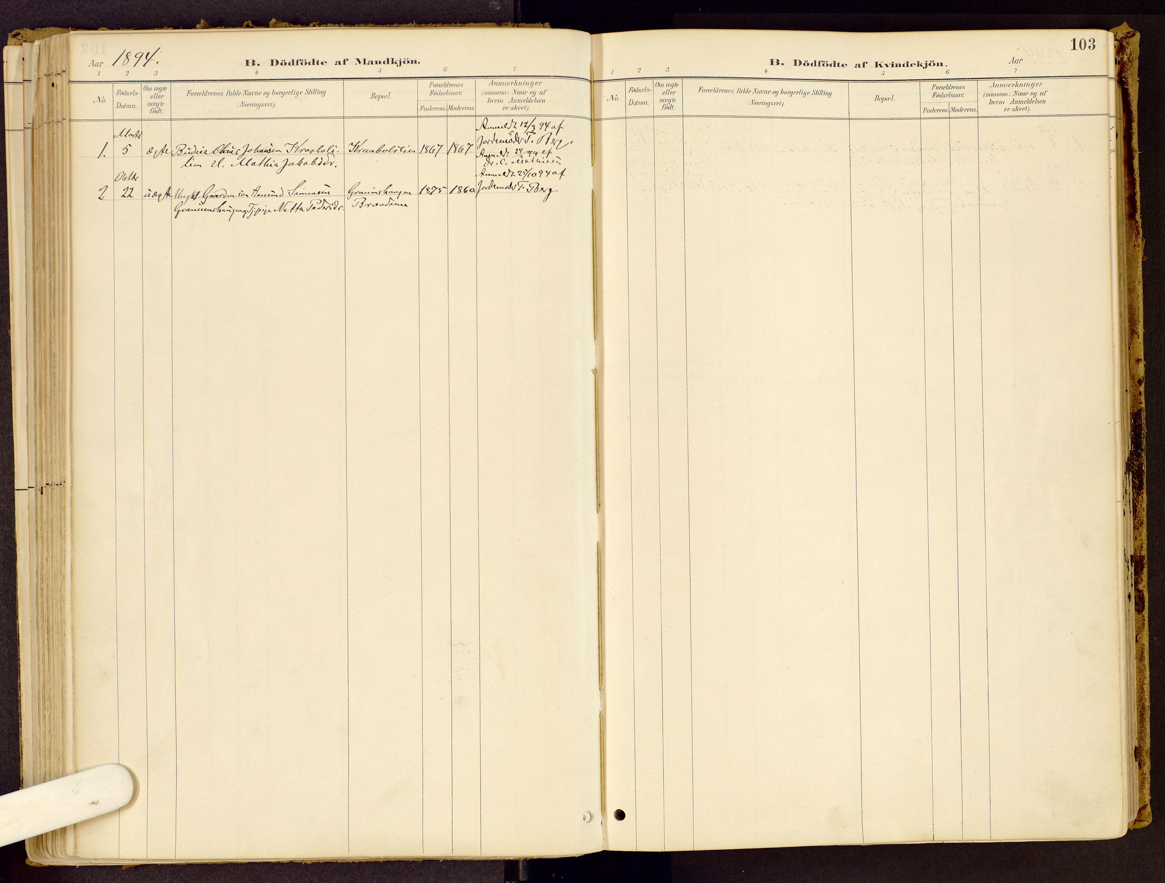 SAH, Vestre Gausdal prestekontor, Ministerialbok nr. 1, 1887-1914, s. 103