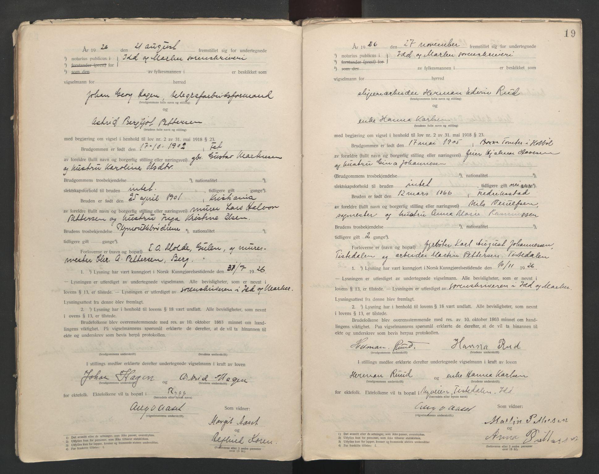 SAO, Idd og Marker sorenskriveri, L/Lc/L0001: Vigselsbøker, 1920-1942, s. 19