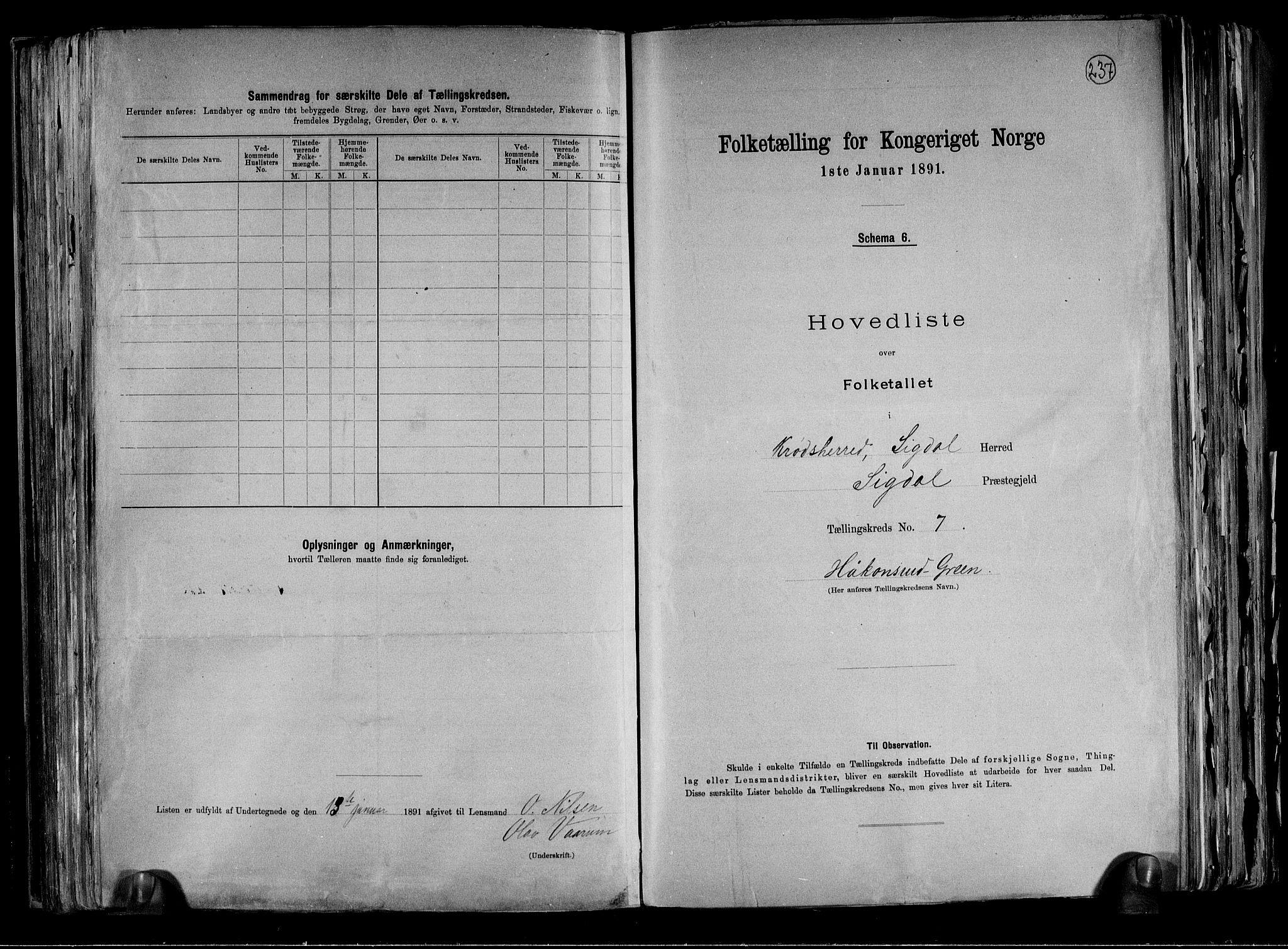 RA, Folketelling 1891 for 0621 Sigdal herred, 1891, s. 50