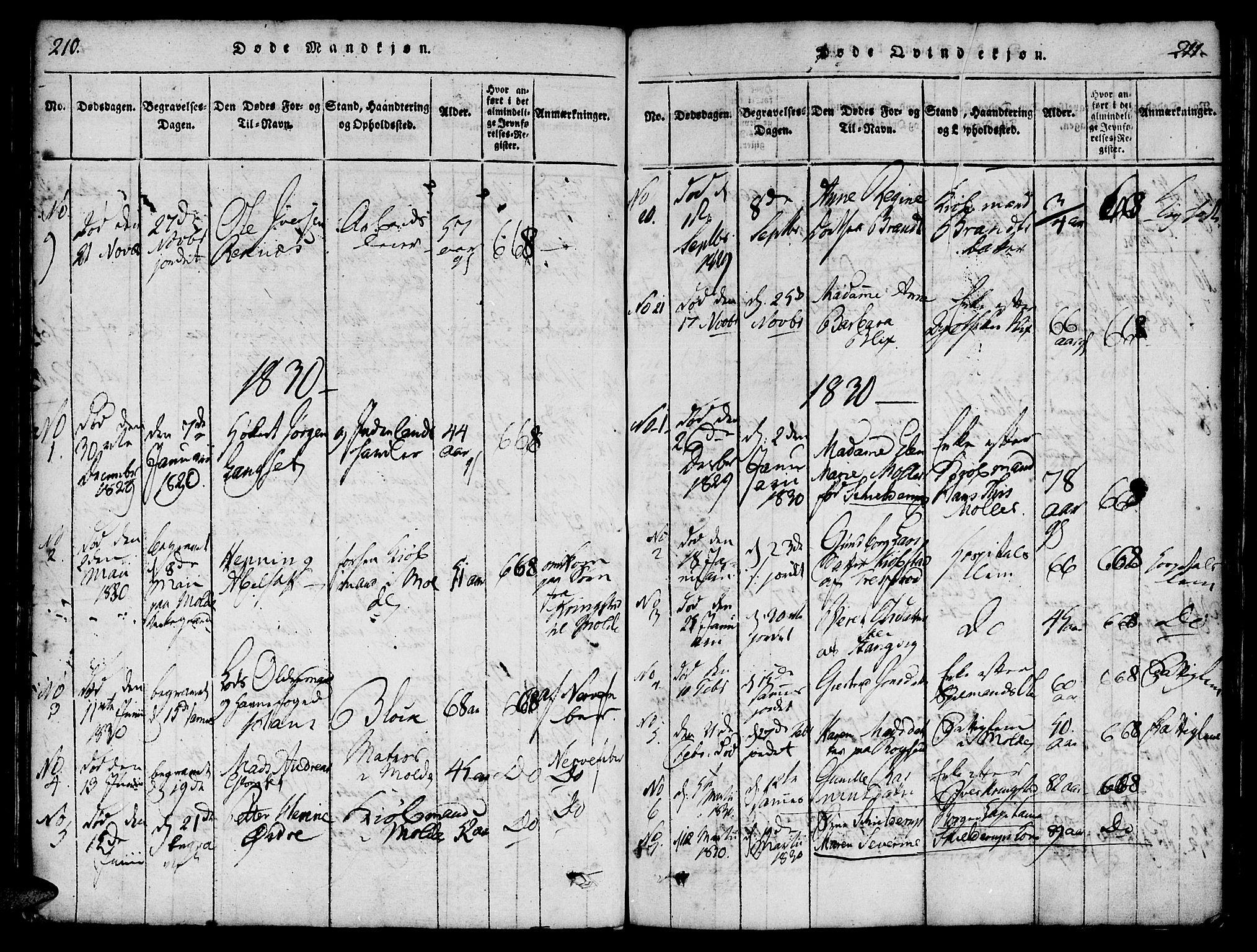SAT, Ministerialprotokoller, klokkerbøker og fødselsregistre - Møre og Romsdal, 558/L0688: Ministerialbok nr. 558A02, 1818-1843, s. 210-211