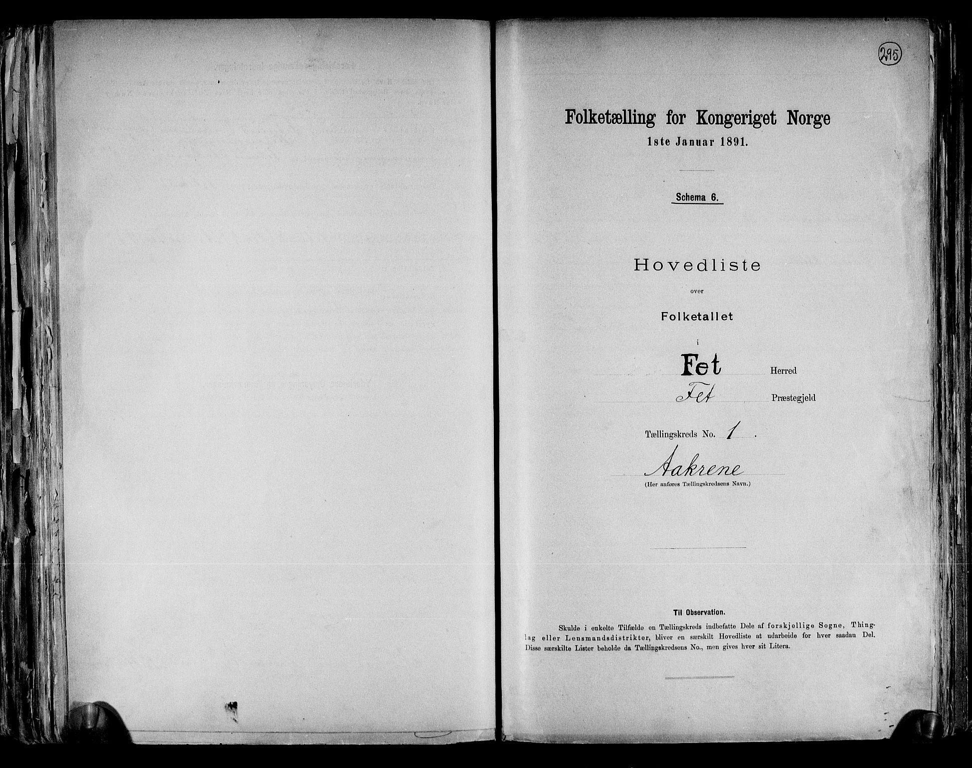 RA, Folketelling 1891 for 0227 Fet herred, 1891, s. 4