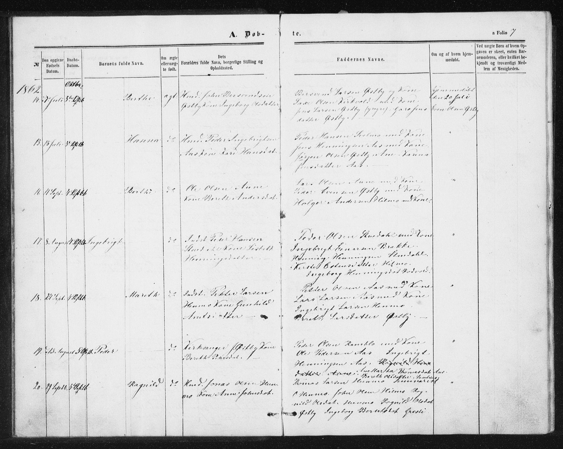 SAT, Ministerialprotokoller, klokkerbøker og fødselsregistre - Sør-Trøndelag, 698/L1166: Klokkerbok nr. 698C03, 1861-1887, s. 7