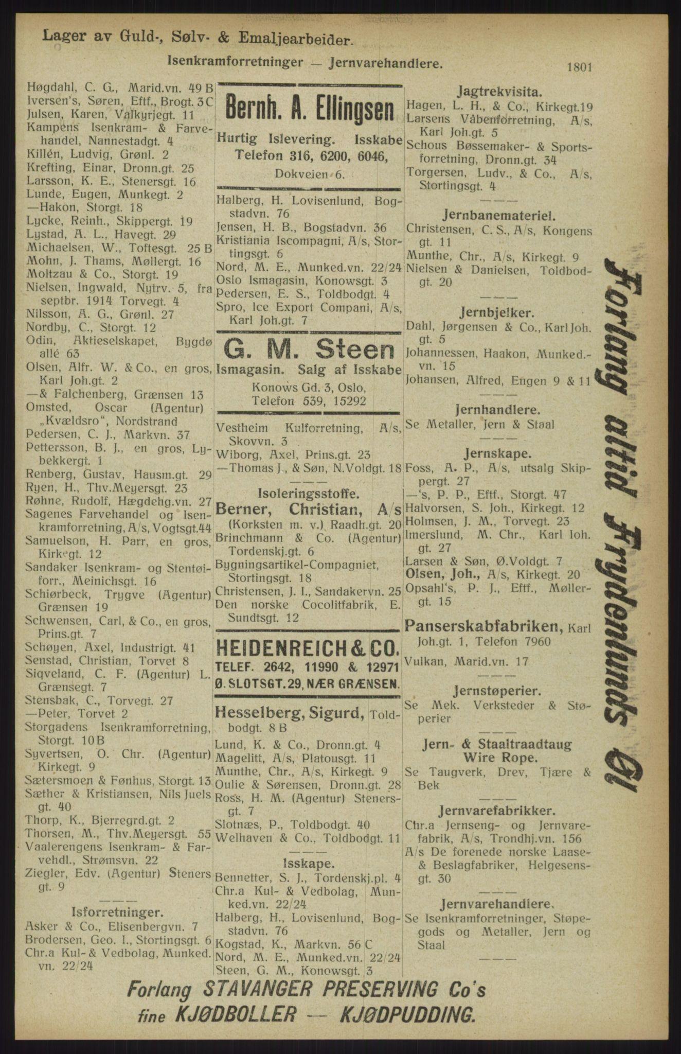 RA, Kristiania adressebok (publikasjon)*, 1914, s. 1801
