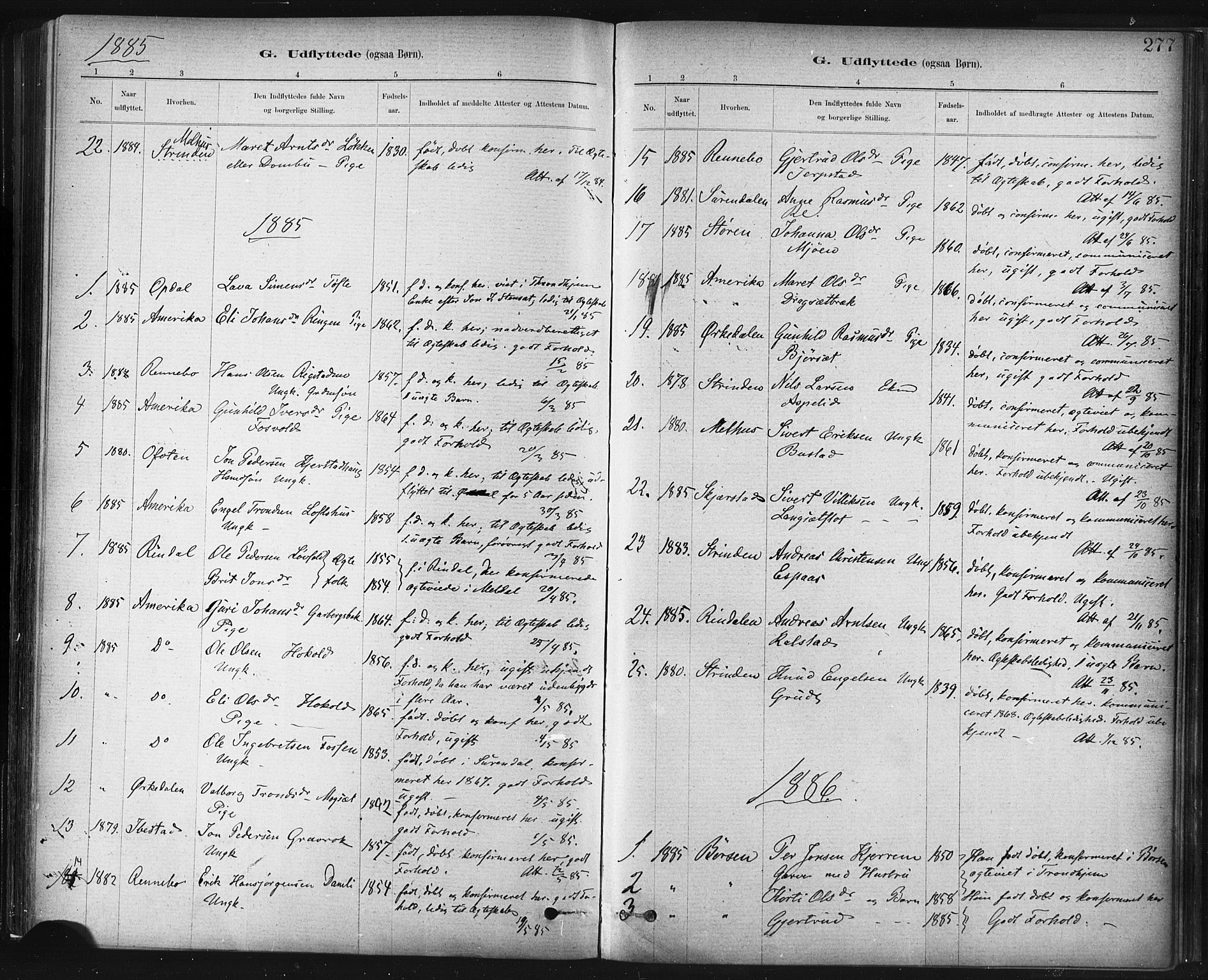 SAT, Ministerialprotokoller, klokkerbøker og fødselsregistre - Sør-Trøndelag, 672/L0857: Ministerialbok nr. 672A09, 1882-1893, s. 277