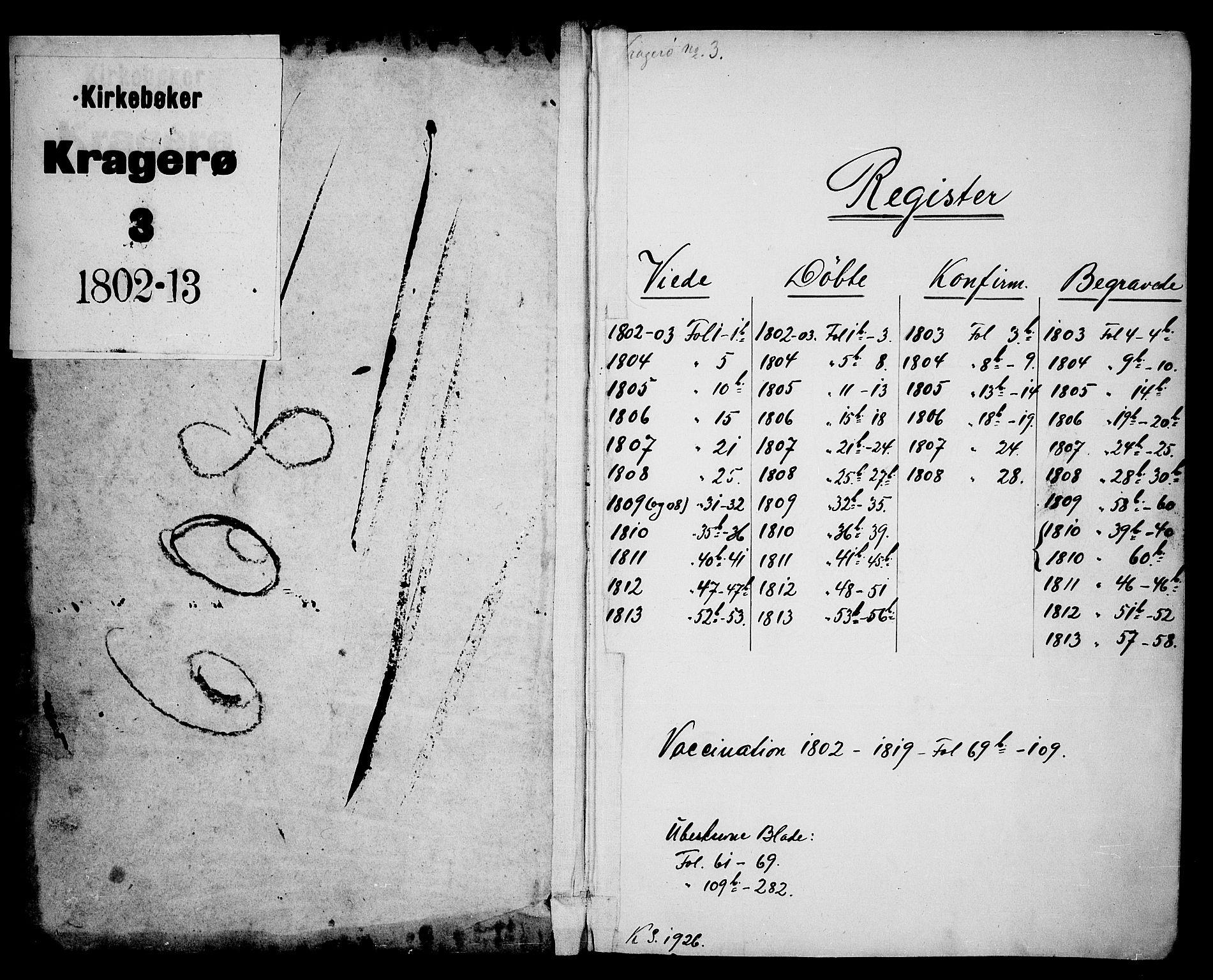 SAKO, Kragerø kirkebøker, F/Fa/L0003: Ministerialbok nr. 3, 1802-1813