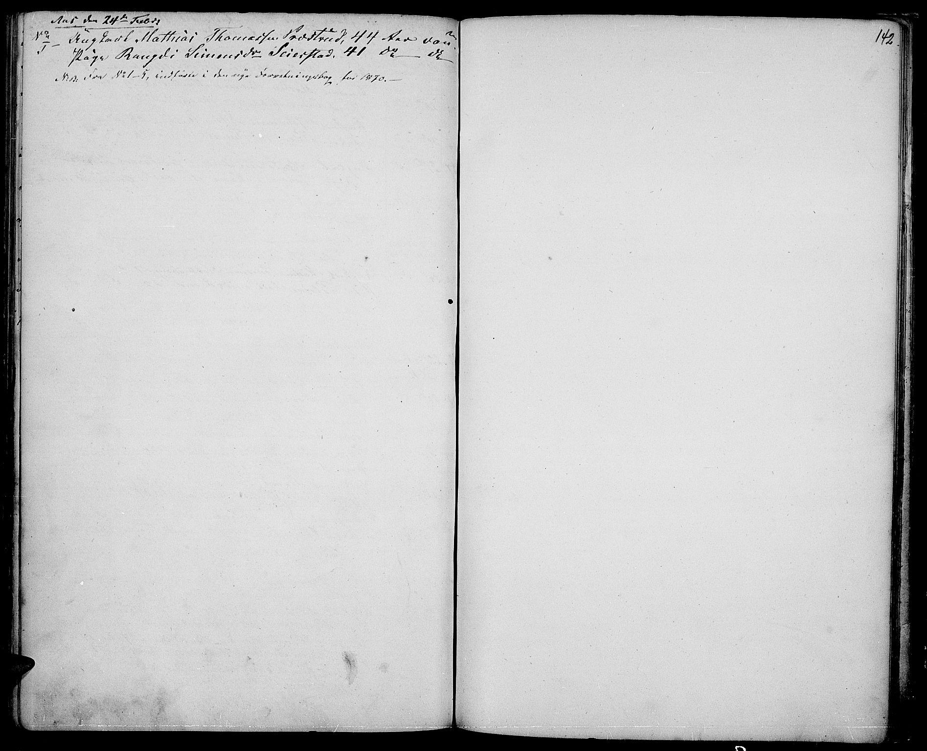 SAH, Vestre Toten prestekontor, H/Ha/Hab/L0005: Klokkerbok nr. 5, 1854-1870, s. 142