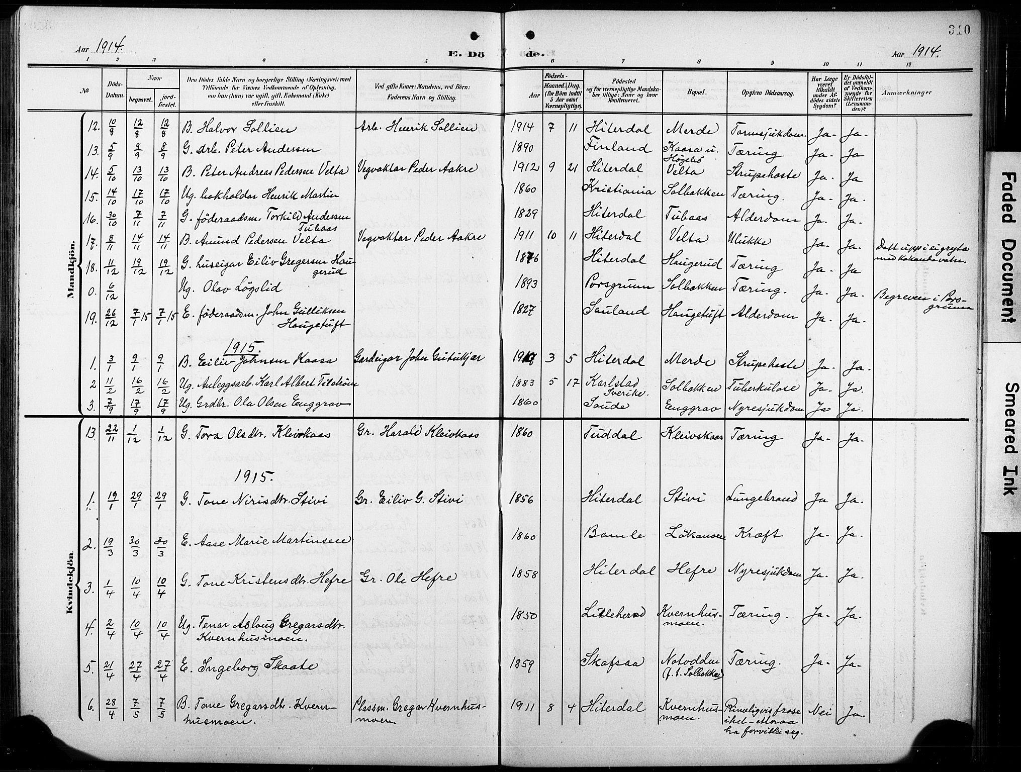 SAKO, Heddal kirkebøker, G/Ga/L0003: Klokkerbok nr. I 3, 1908-1932, s. 310
