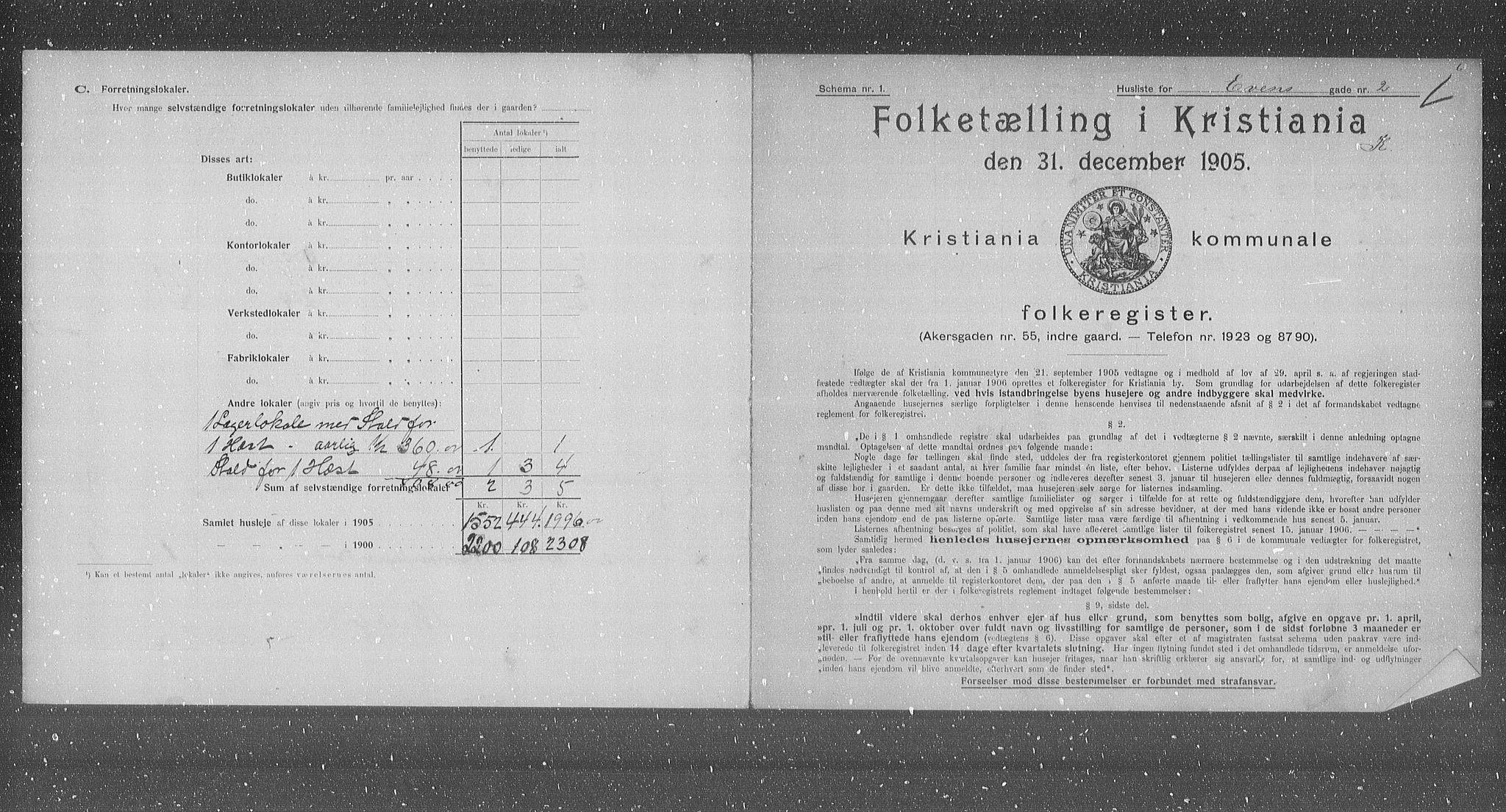 OBA, Kommunal folketelling 1905 for Kristiania kjøpstad, 1905, s. 11845