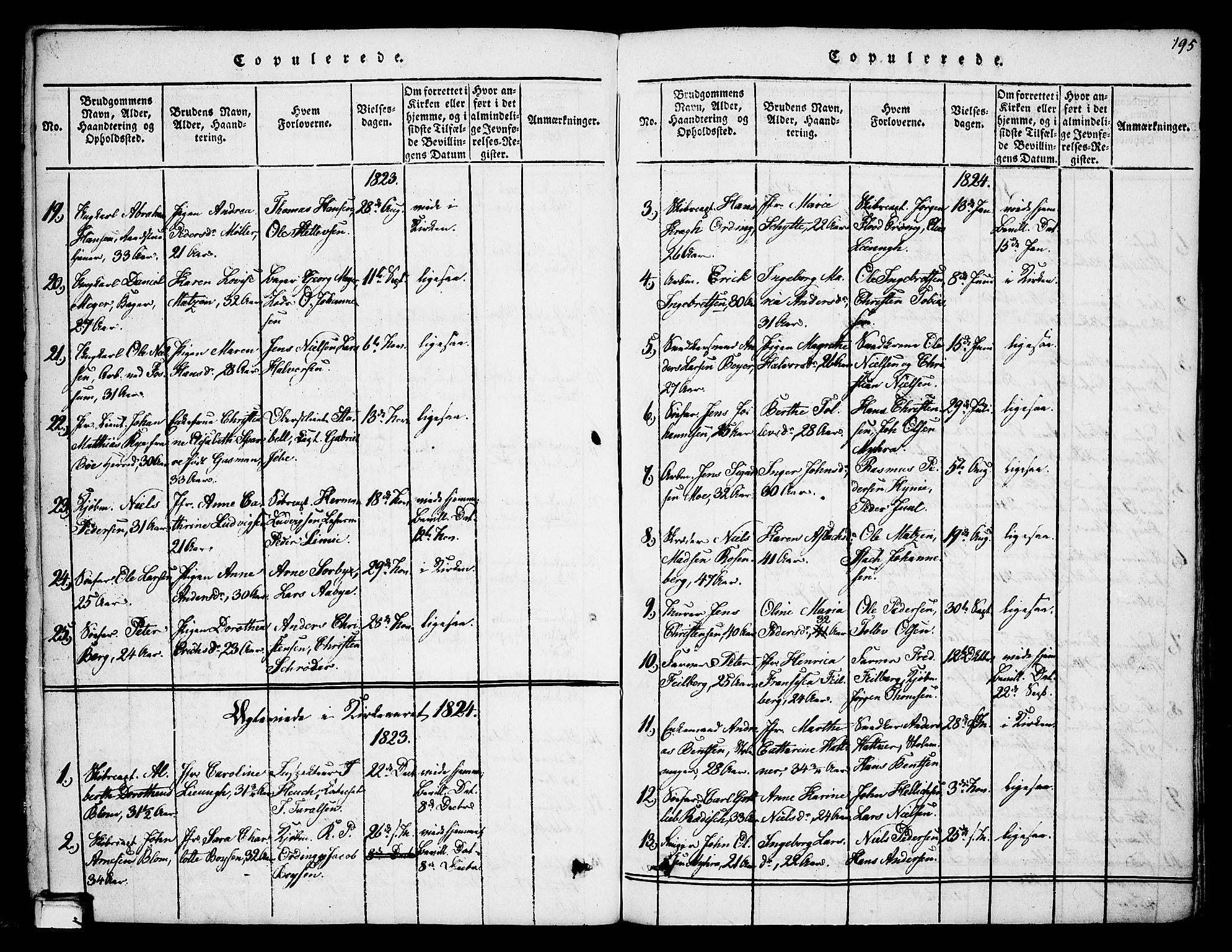 SAKO, Skien kirkebøker, F/Fa/L0005: Ministerialbok nr. 5, 1814-1843, s. 195