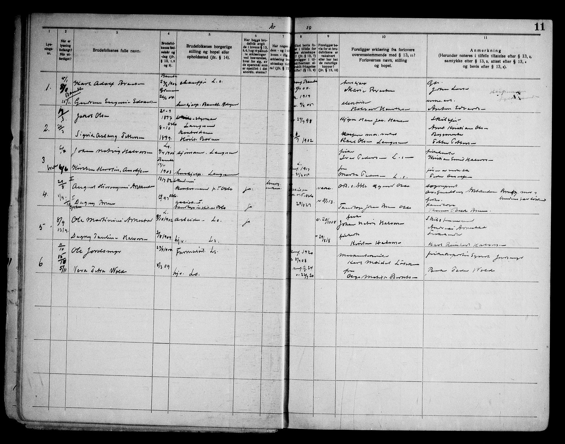 SAKO, Langesund kirkebøker, H/Ha/L0001: Lysningsprotokoll nr. 1, 1919-1973, s. 11