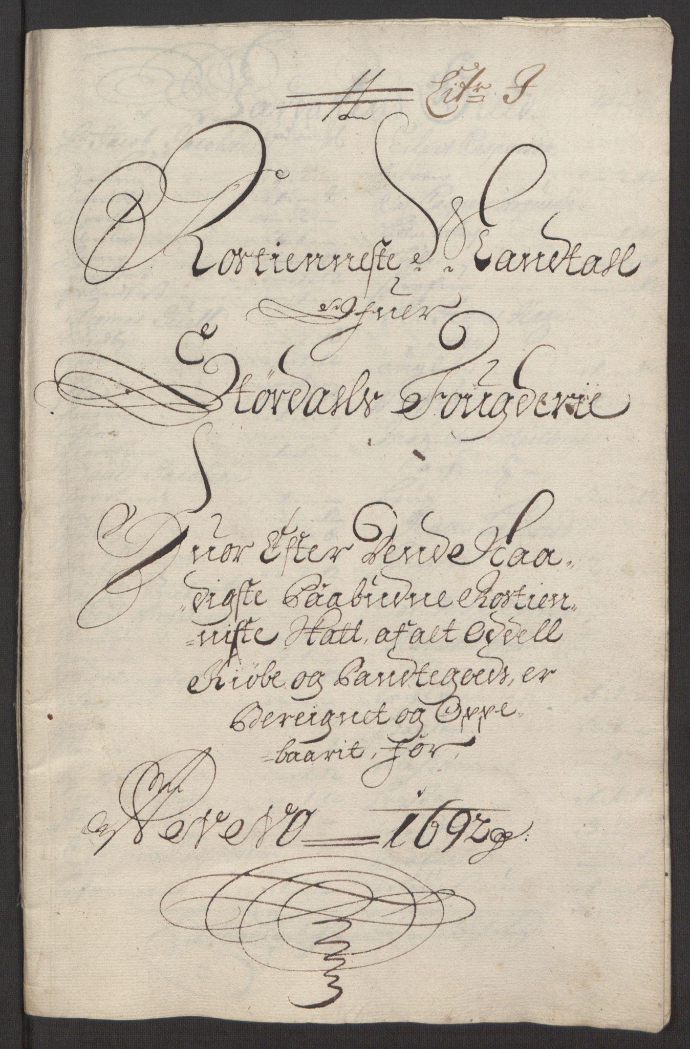 RA, Rentekammeret inntil 1814, Reviderte regnskaper, Fogderegnskap, R62/L4185: Fogderegnskap Stjørdal og Verdal, 1692, s. 159