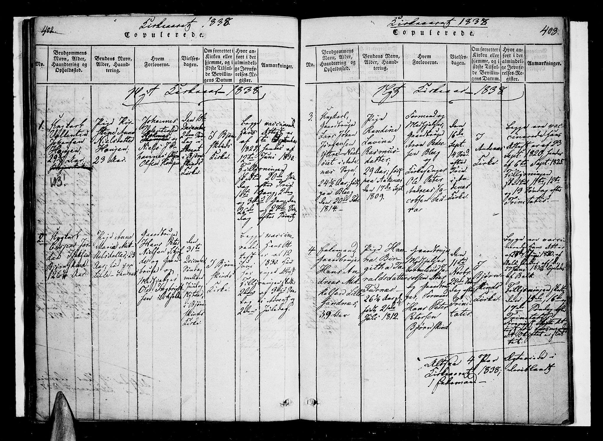 SAT, Ministerialprotokoller, klokkerbøker og fødselsregistre - Nordland, 897/L1395: Ministerialbok nr. 897A03, 1820-1841, s. 402-403