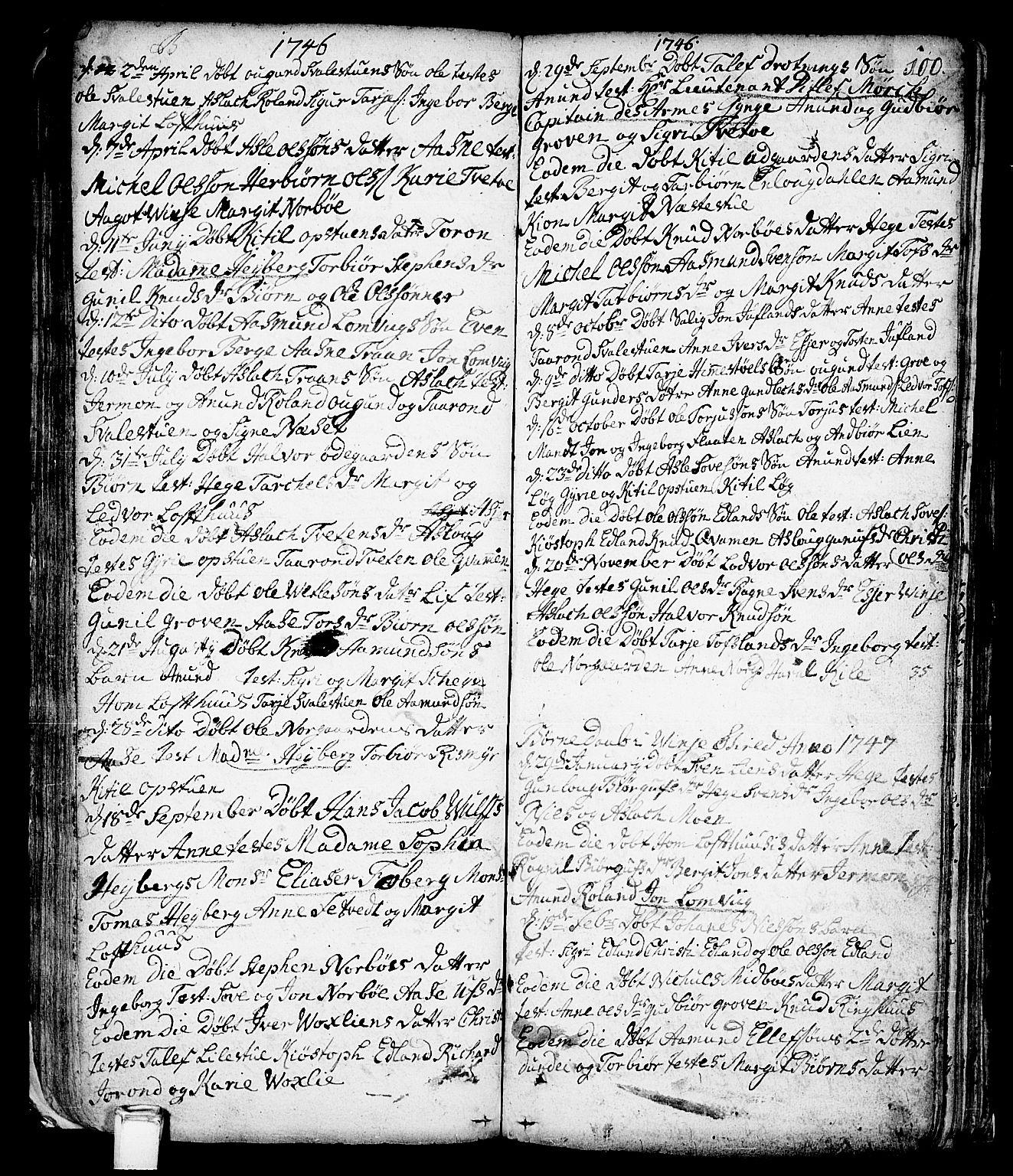 SAKO, Vinje kirkebøker, F/Fa/L0001: Ministerialbok nr. I 1, 1717-1766, s. 100