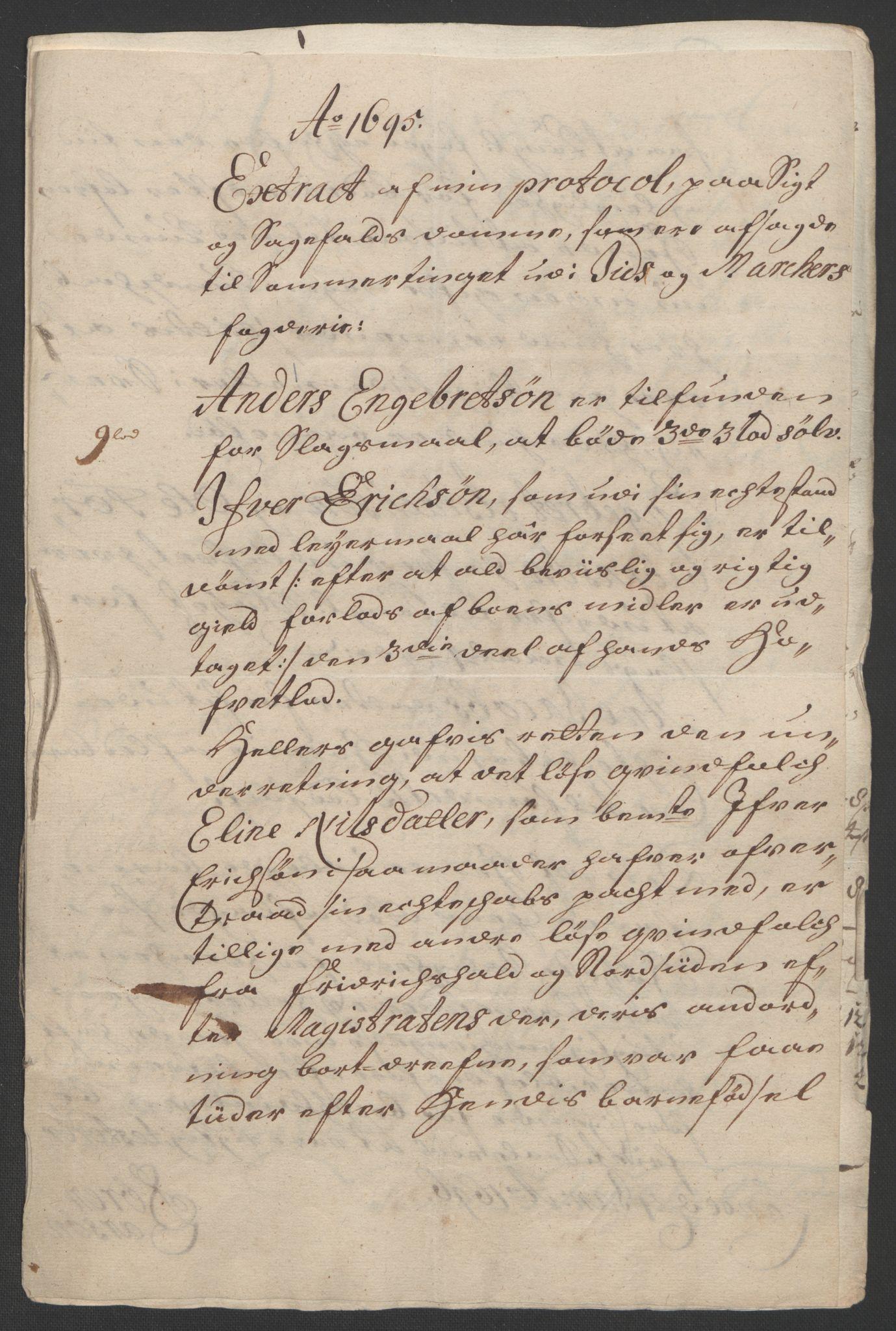 RA, Rentekammeret inntil 1814, Reviderte regnskaper, Fogderegnskap, R01/L0012: Fogderegnskap Idd og Marker, 1694-1695, s. 225