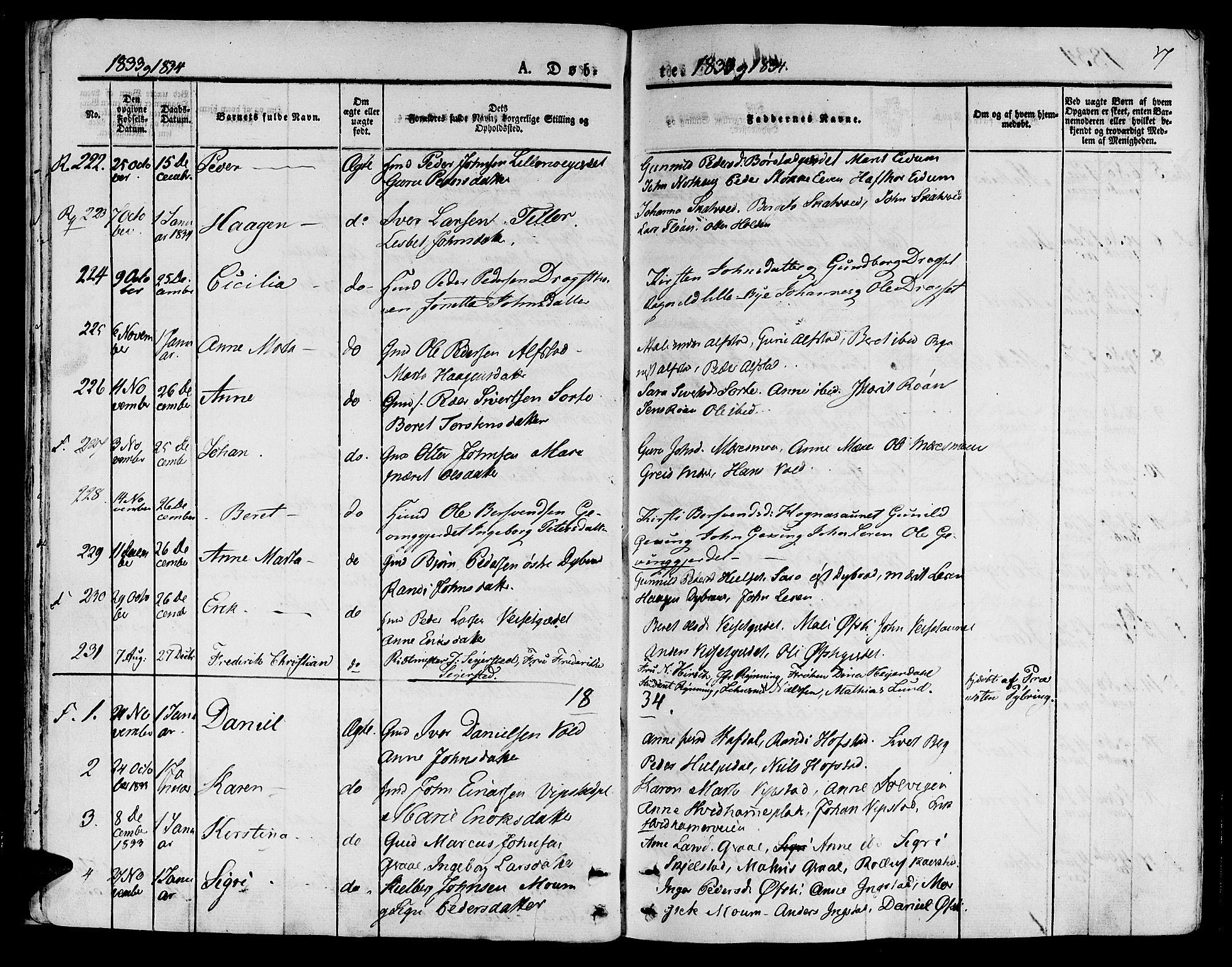 SAT, Ministerialprotokoller, klokkerbøker og fødselsregistre - Nord-Trøndelag, 709/L0071: Ministerialbok nr. 709A11, 1833-1844, s. 17