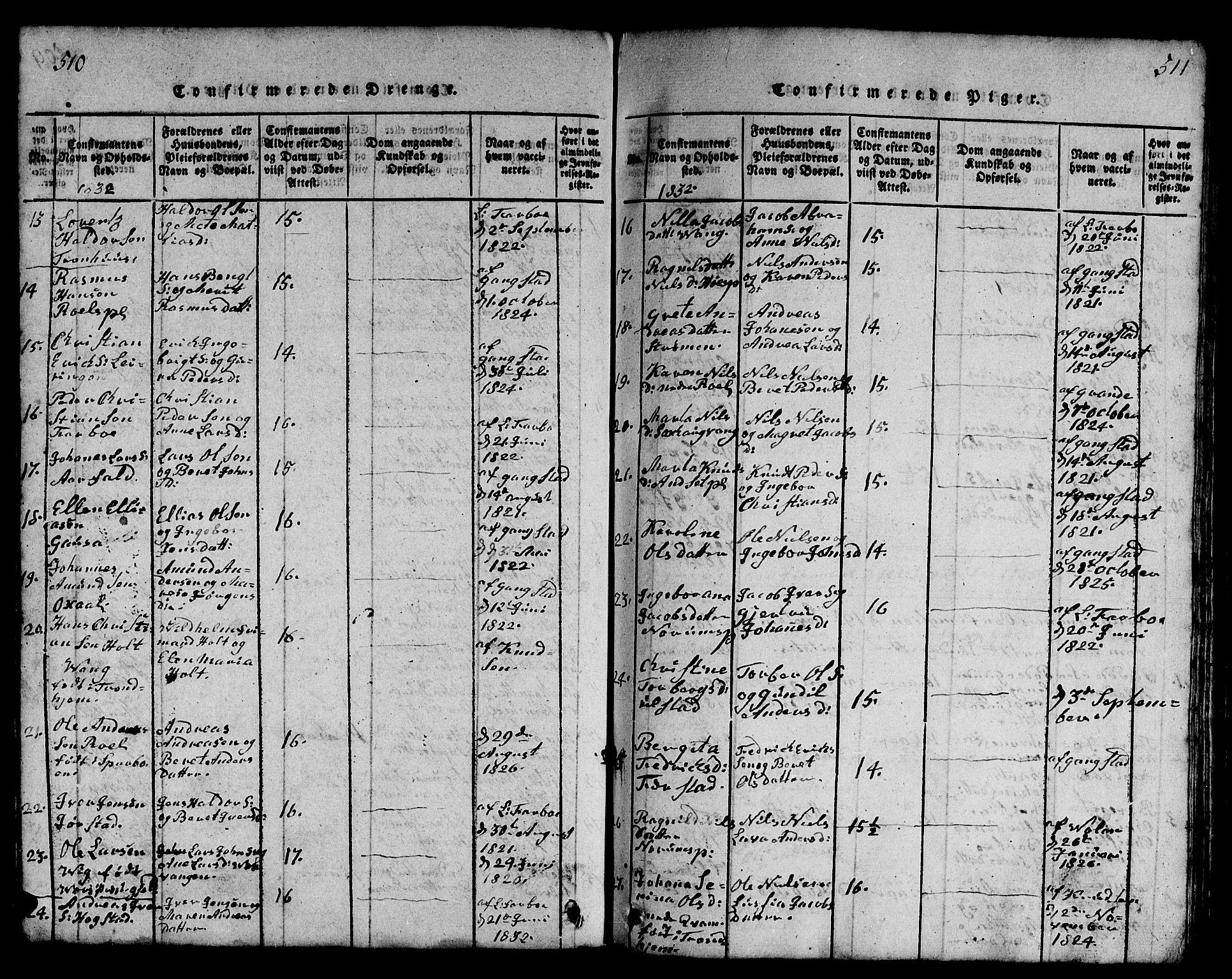 SAT, Ministerialprotokoller, klokkerbøker og fødselsregistre - Nord-Trøndelag, 730/L0298: Klokkerbok nr. 730C01, 1816-1849, s. 510-511