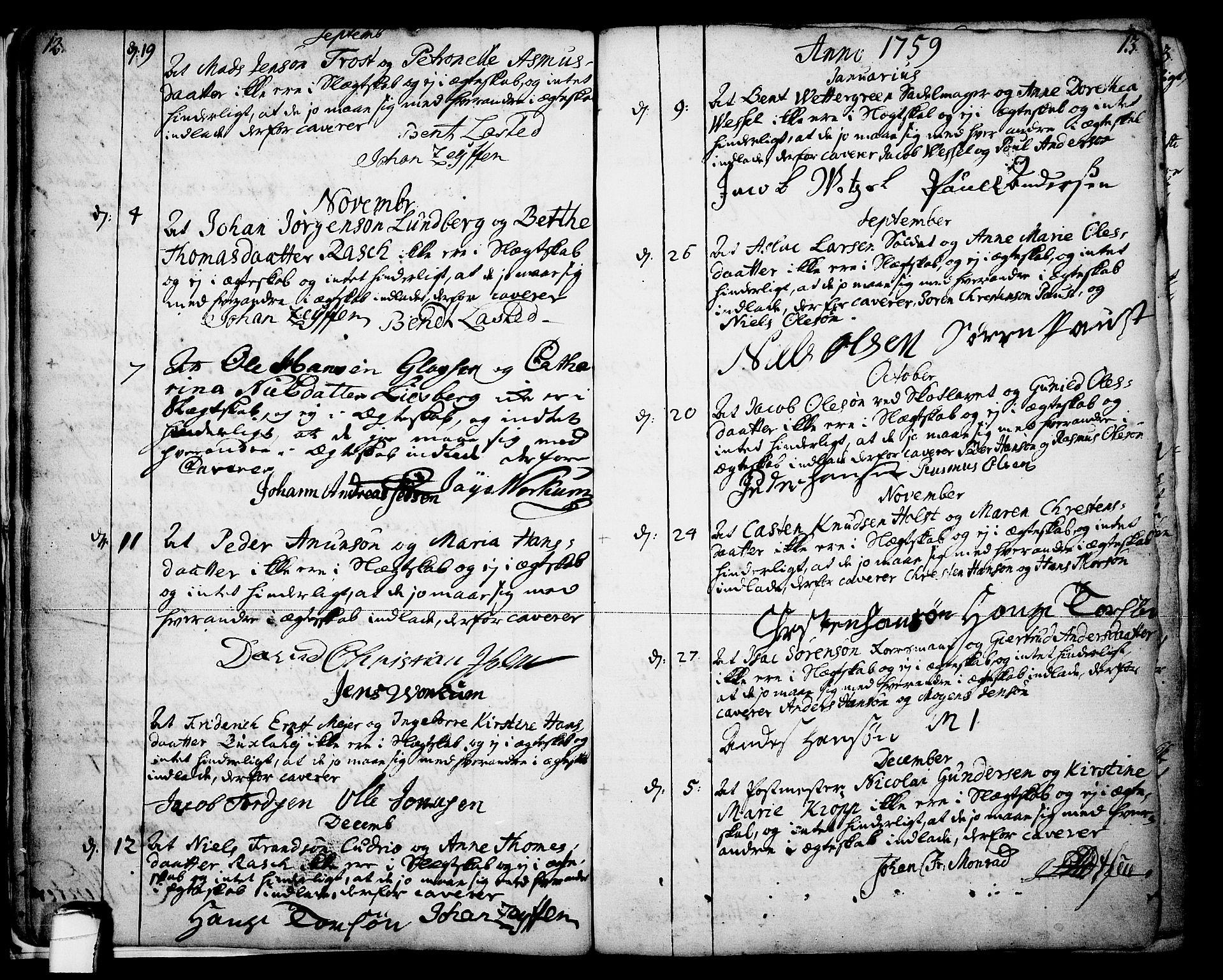 SAKO, Skien kirkebøker, F/Fa/L0003: Ministerialbok nr. 3, 1755-1791, s. 12-13